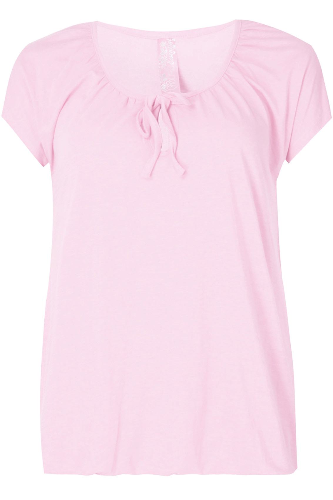 Baby Pink Plain Basic Gypsy T-shirt With Bubble Hem plus size 16 ...