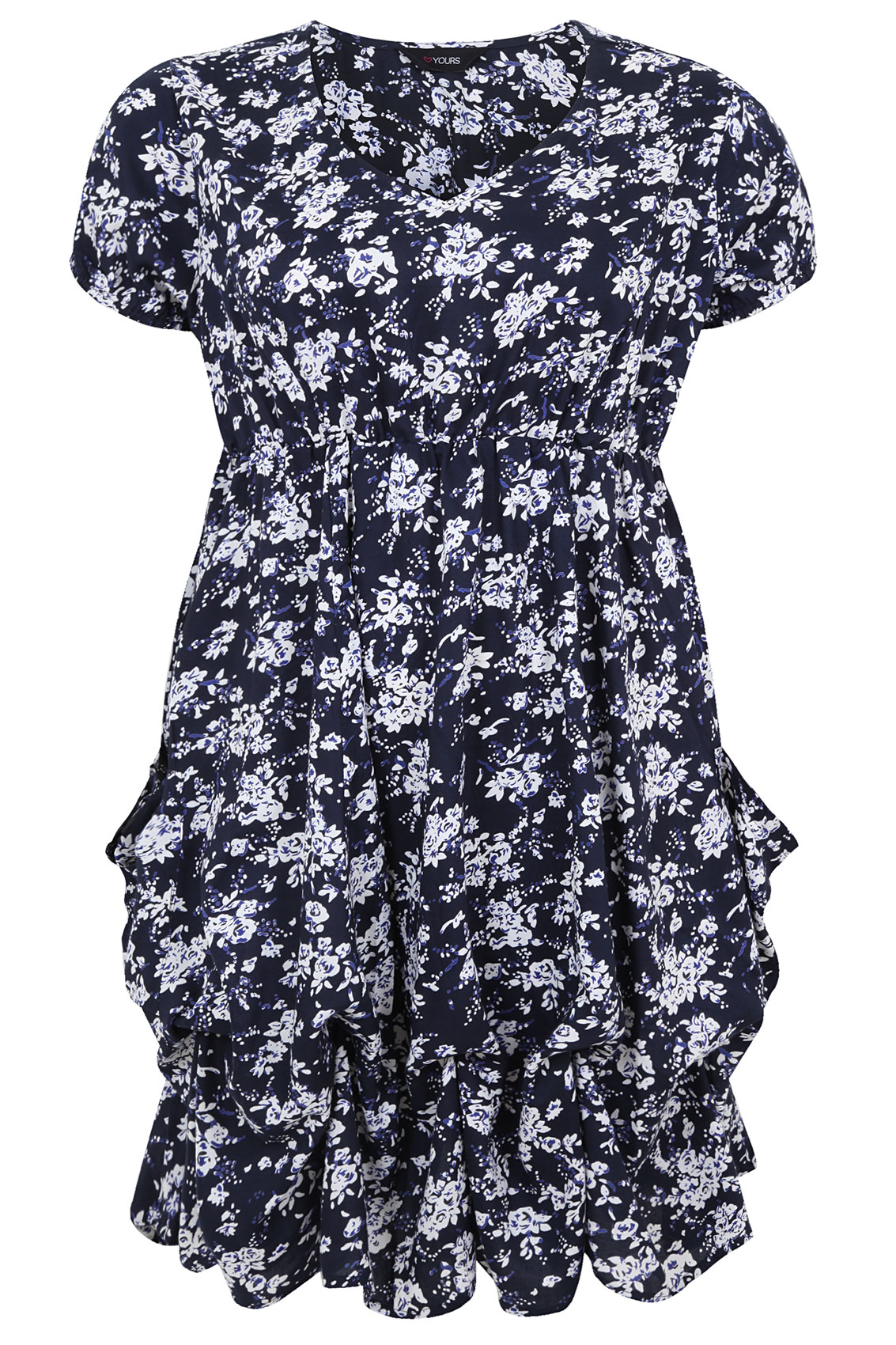 Navy Ditsy Floral Print Tunic Dress With Frilled Hem plus size 14,16 ...