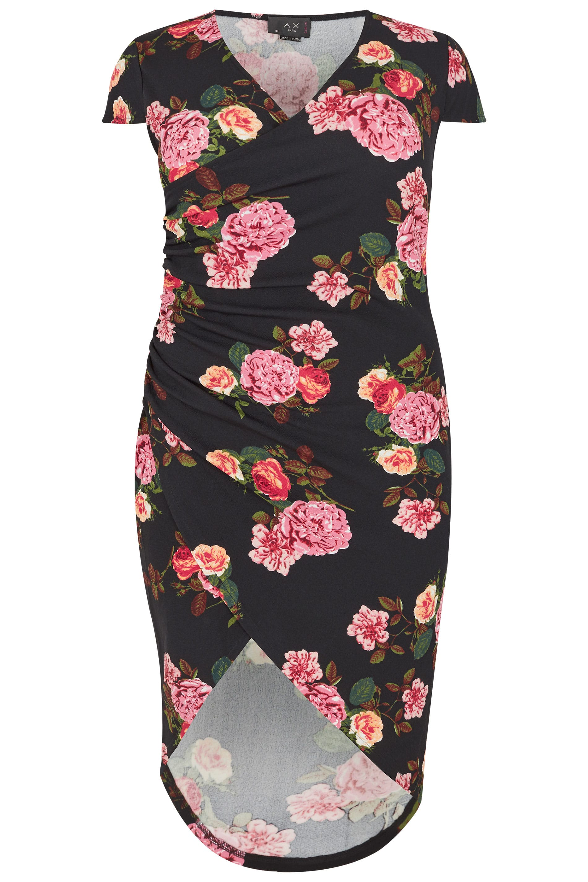 84f418d5d6fe AX PARIS Curve Black Floral Wrap Dress, Plus size 16 to 26
