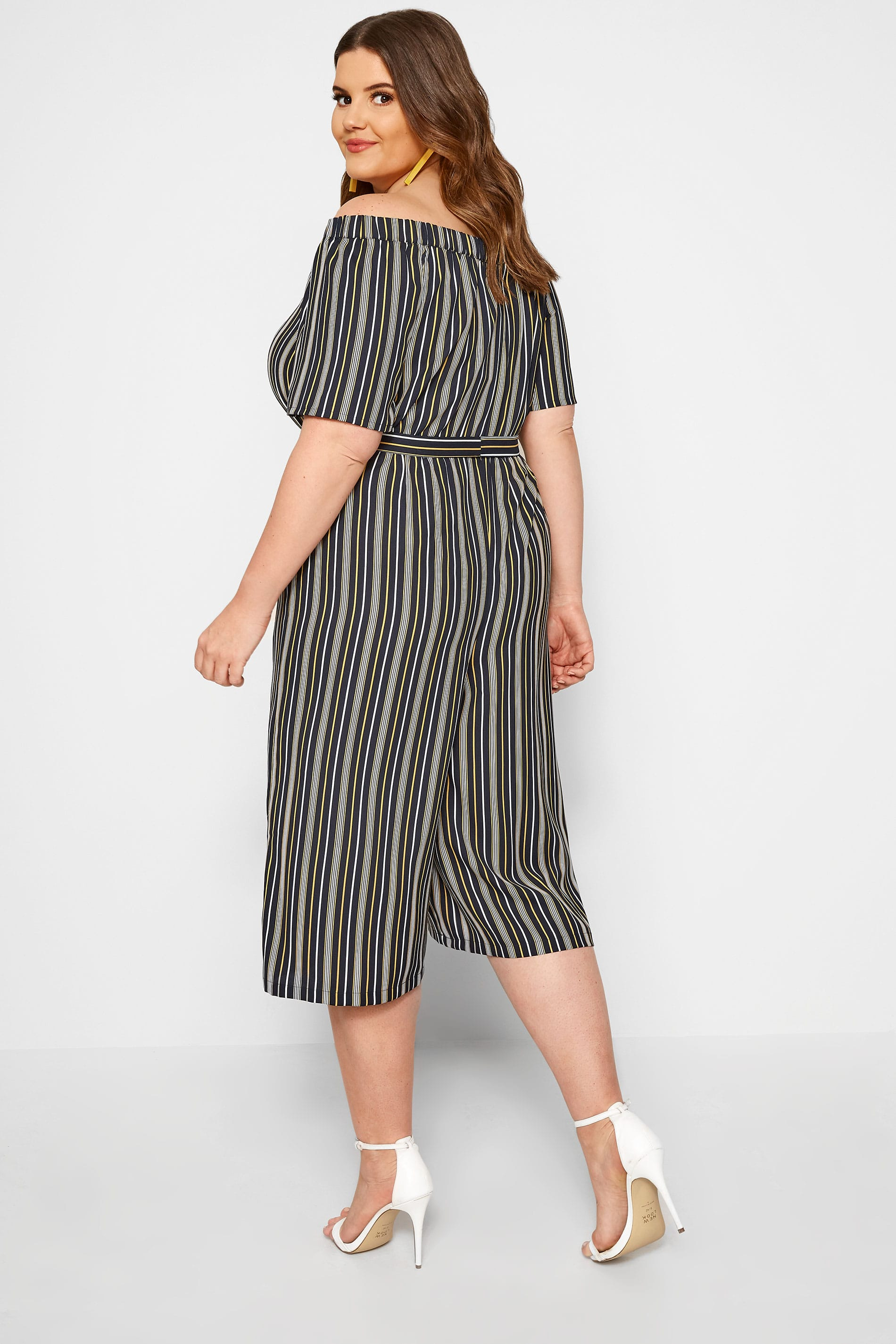black yellow striped bardot culotte jumpsuit sizes 16 to 36 yours clothing. Black Bedroom Furniture Sets. Home Design Ideas