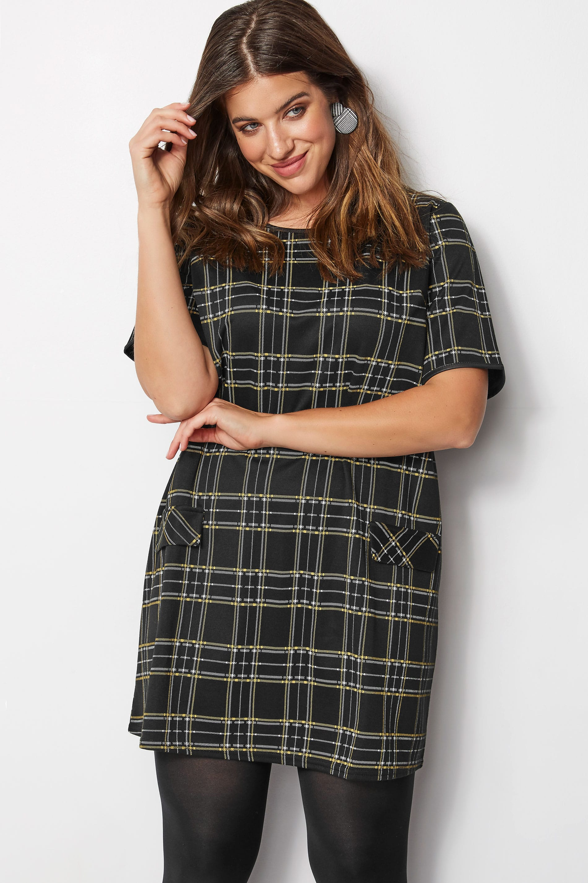 973862e5dd7 LIMITED COLLECTION Plus Size Black & Yellow Check Tunic Dress | Plus ...