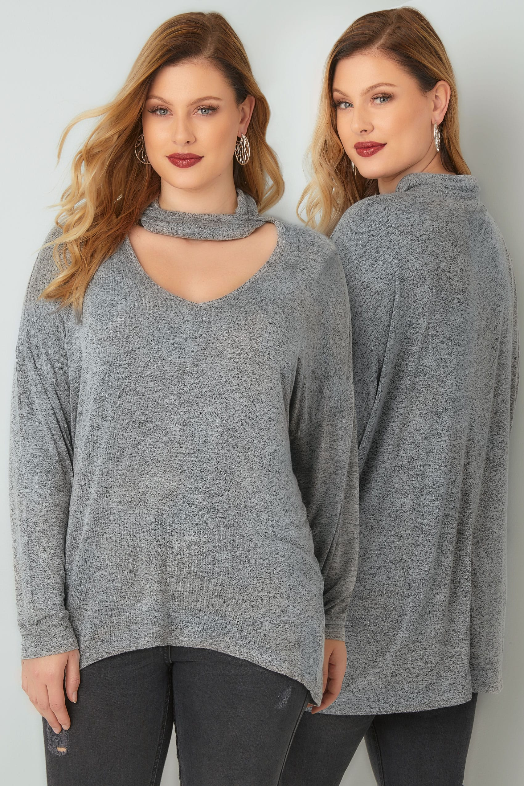 BLUE VANILLA CURVE Grey Choker Neck Top With Curved Hem ...
