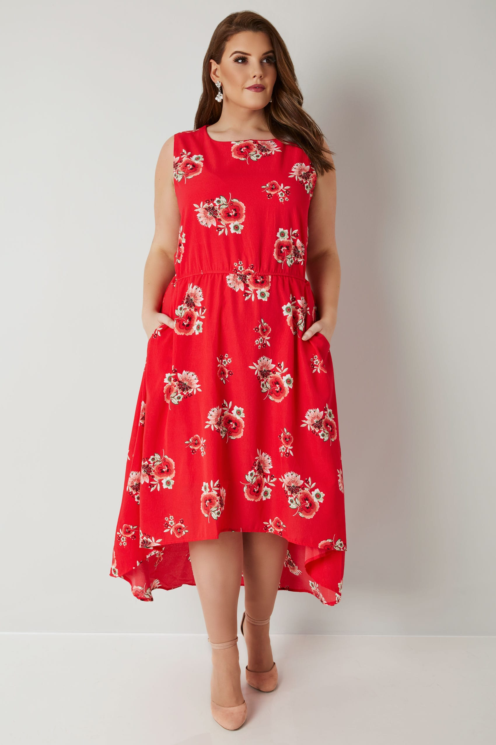 78e57cba6921 BLUE VANILLA CURVE Red Floral Print High Low Dress