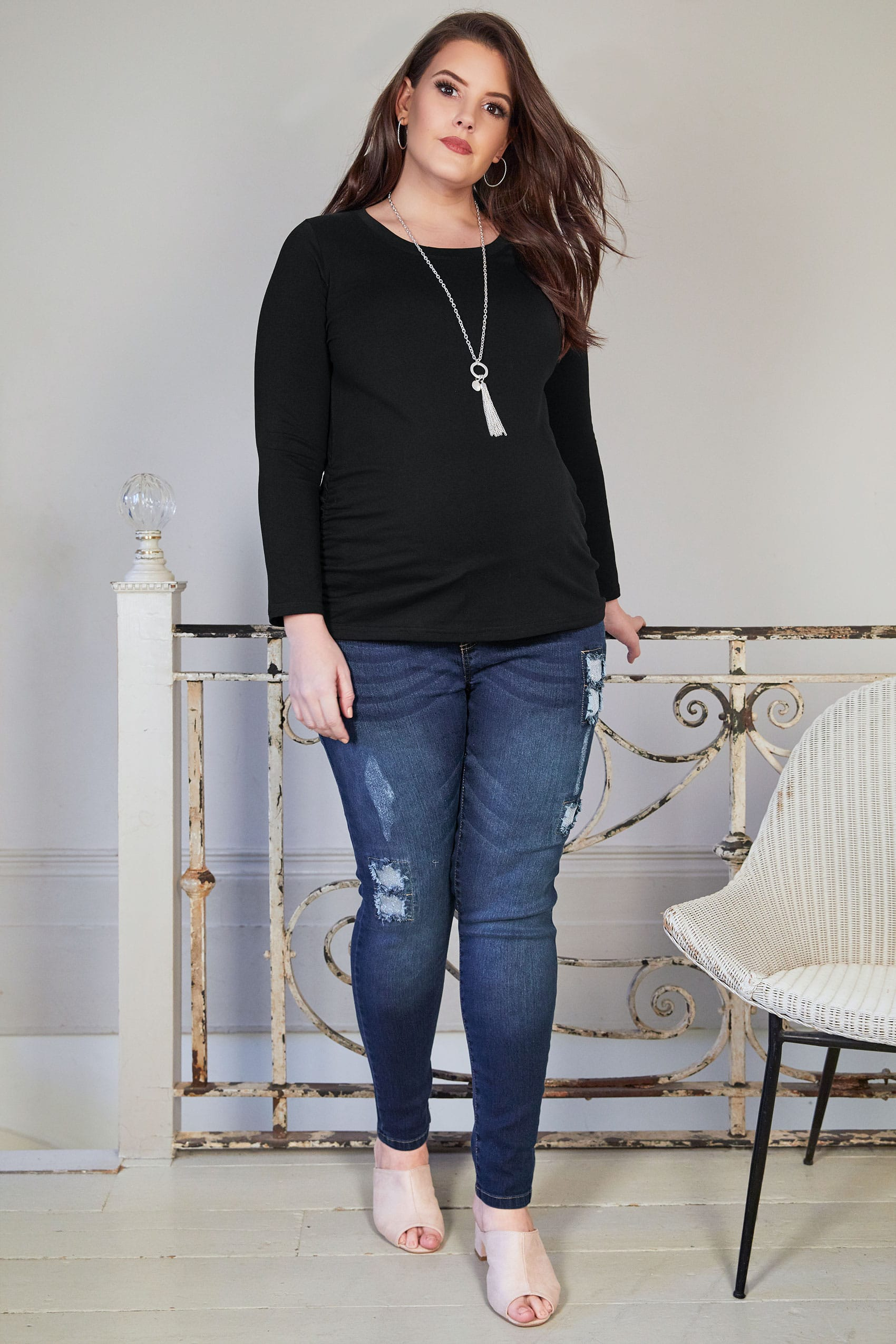 Decorating A Small Living Dining Room: BUMP IT UP MATERNITY Black Cotton Long Sleeved Top Plus