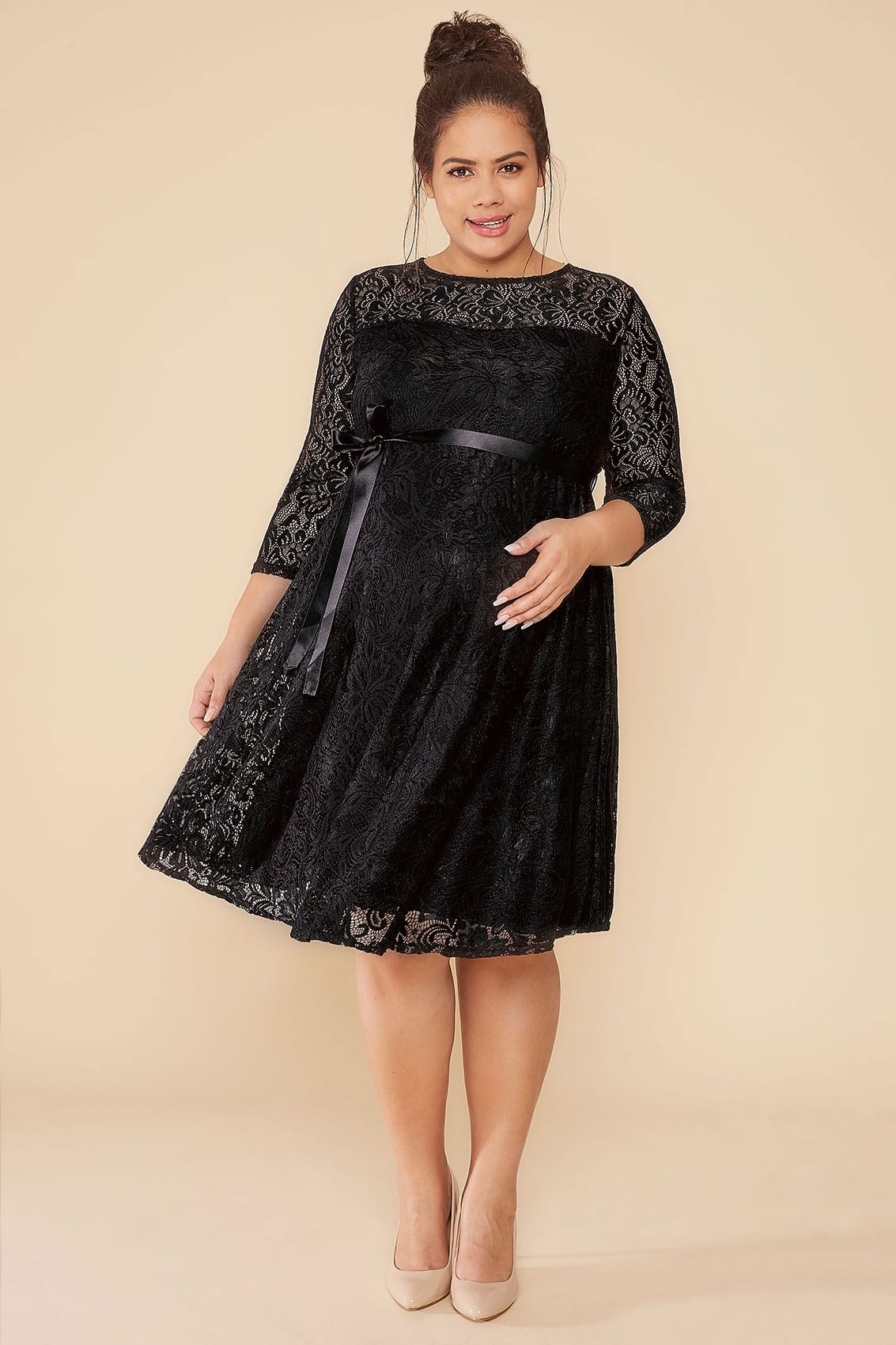 Bump it up maternity black lace sleeved skater dress with ribbon bump it up maternity black lace sleeved skater dress with ribbon tie ombrellifo Choice Image
