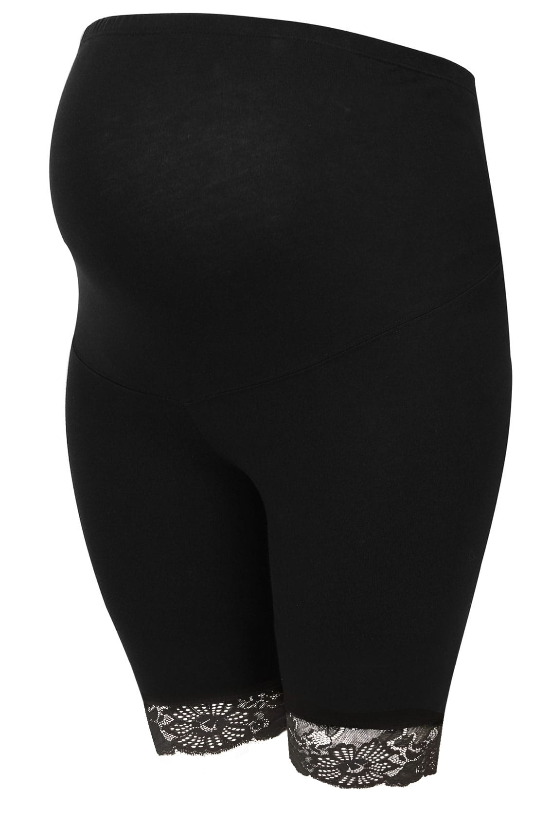 8185fcbed4a BUMP IT UP MATERNITY Black Legging Shorts With Lace Trim