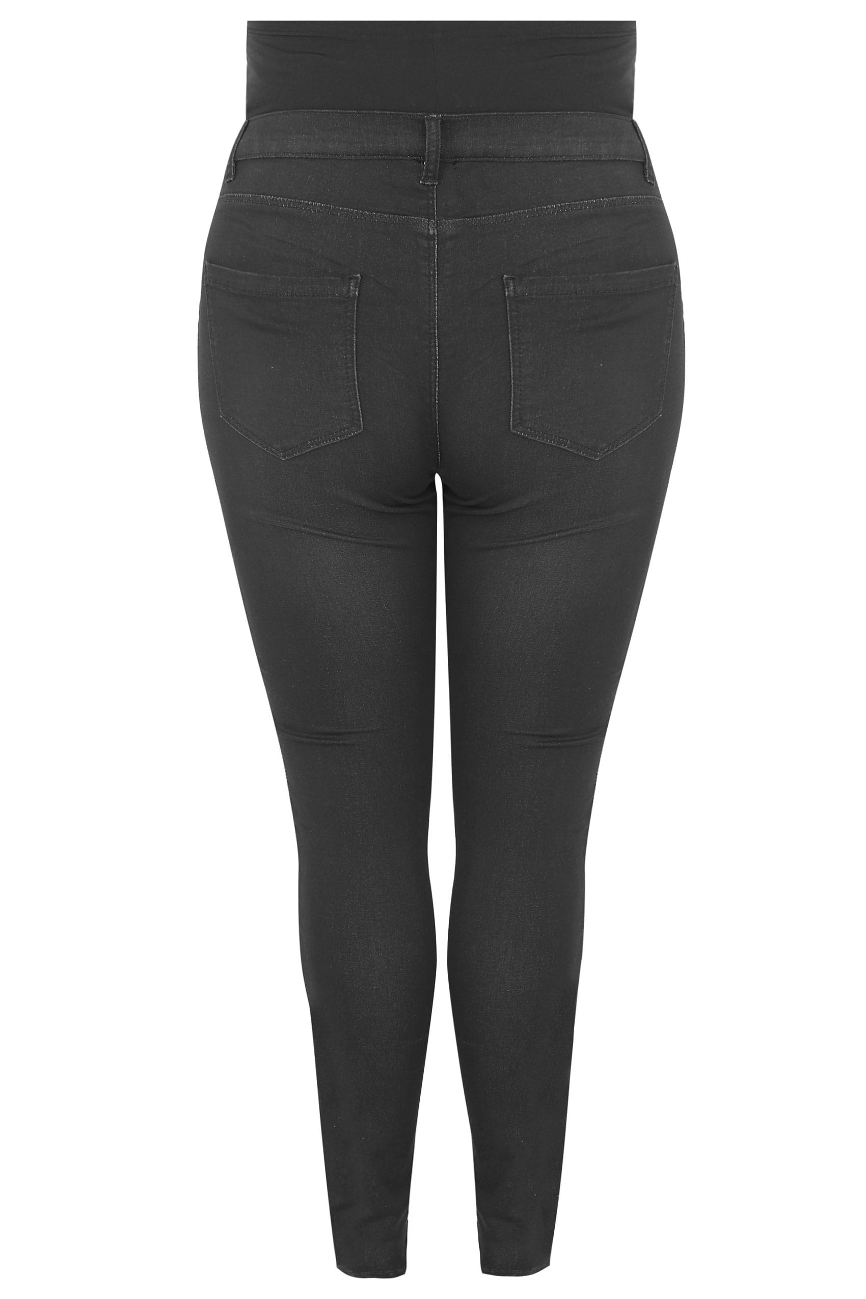 8b9586054038c BUMP IT UP MATERNITY Black Super Stretch Skinny Jeggings With Comfort Panel