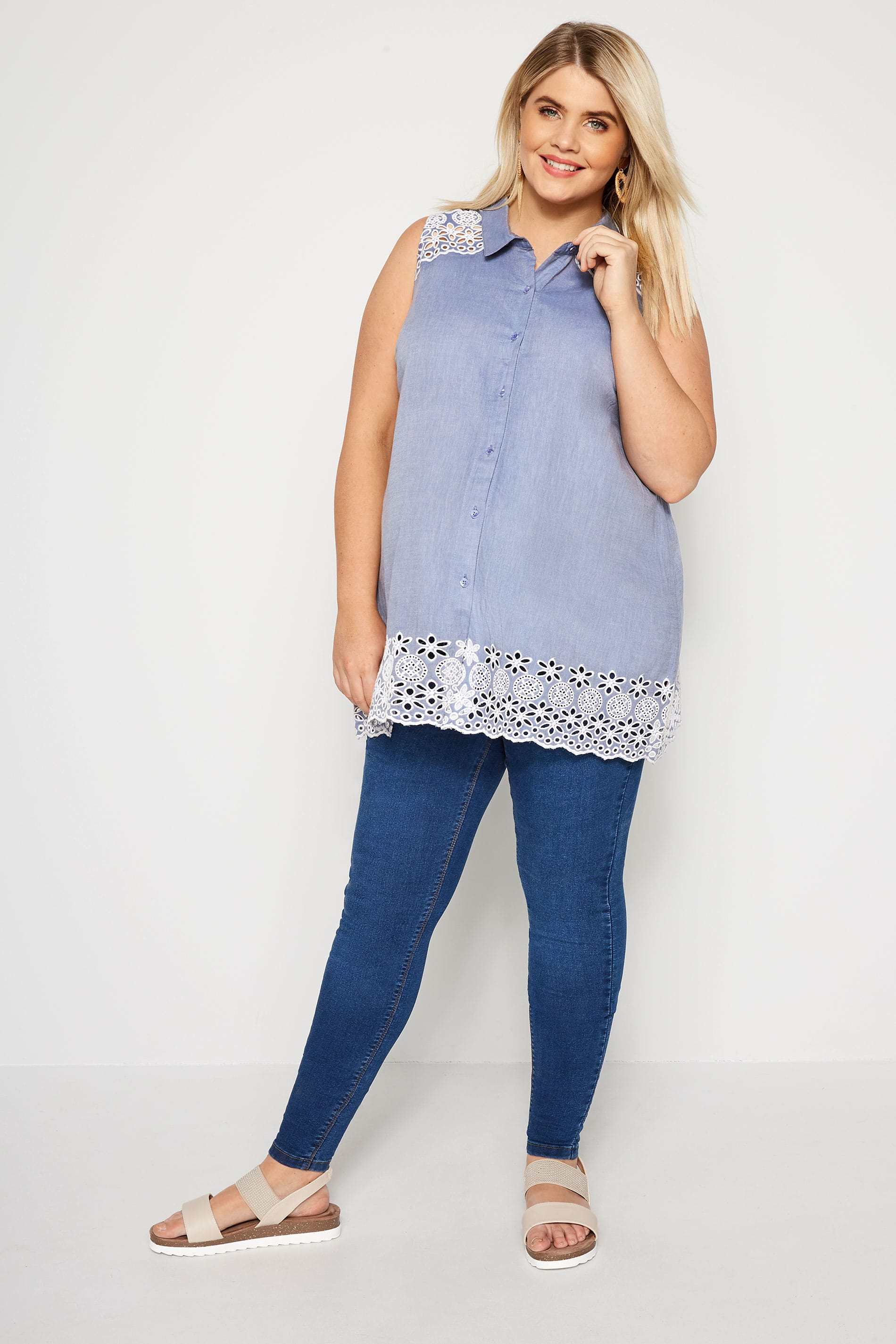 09f876910238f BUMP IT UP MATERNITY Blue Chambray Embroidered Shirt | Plus Sizes 16 ...