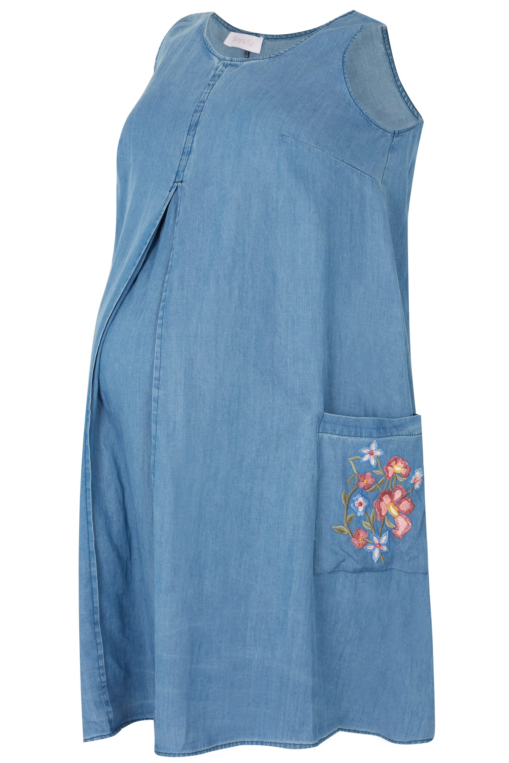 a21fe4f486c BUMP IT UP MATERNITY Blue Chambray Pleated Dress With Floral Embroidery