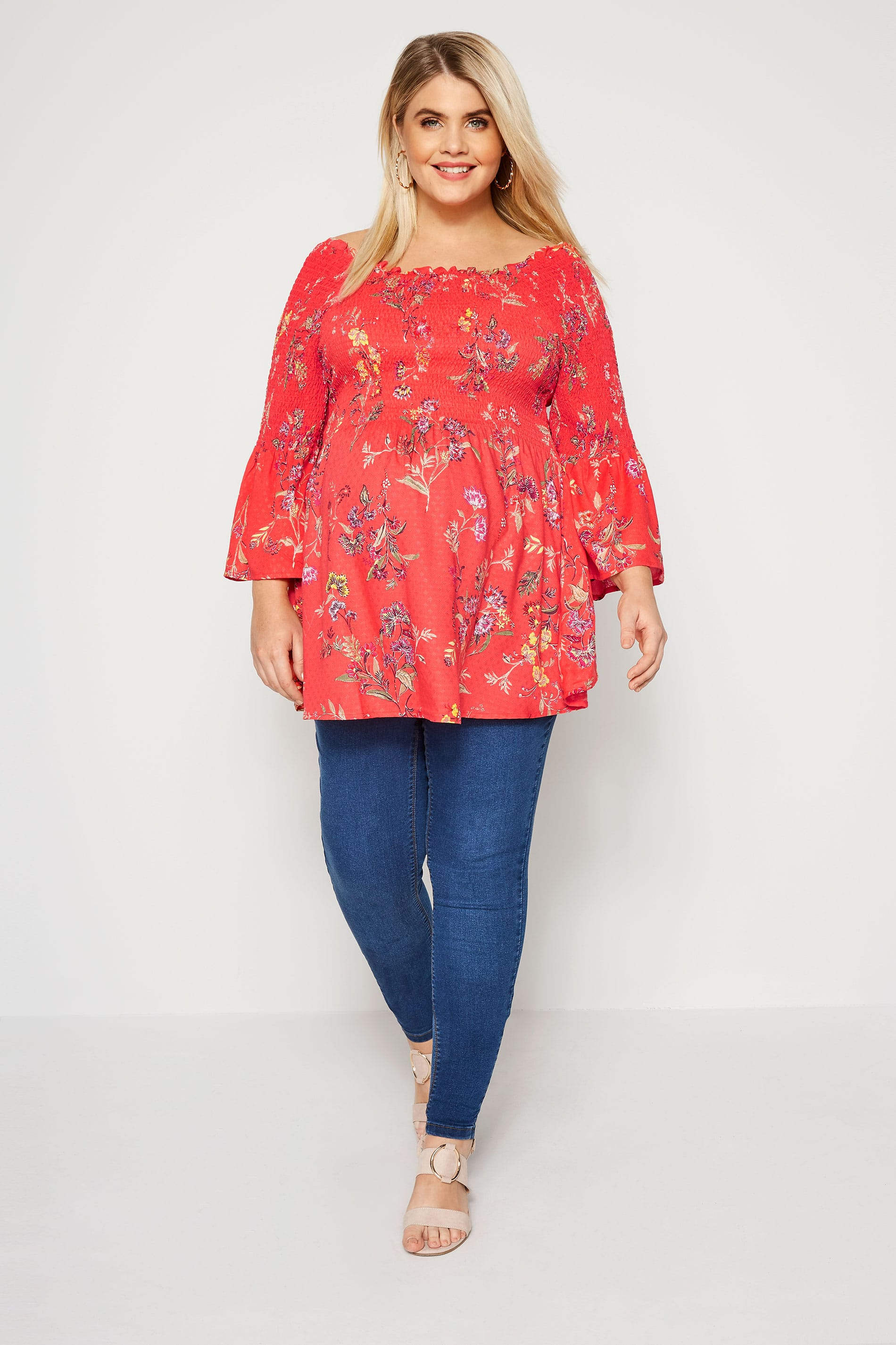 letter to hr bump it up koralowa bluzka ciążowa w kwiaty duże rozmiary 23212 | BUMP IT UP MATERNITY Coral Floral Shirred Top 158114 6a32
