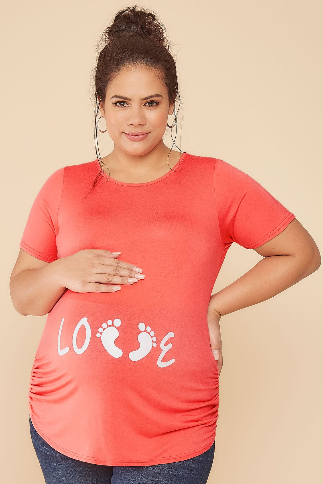 Bump It Up Maternity Coral Top With White Glitter Love -2062