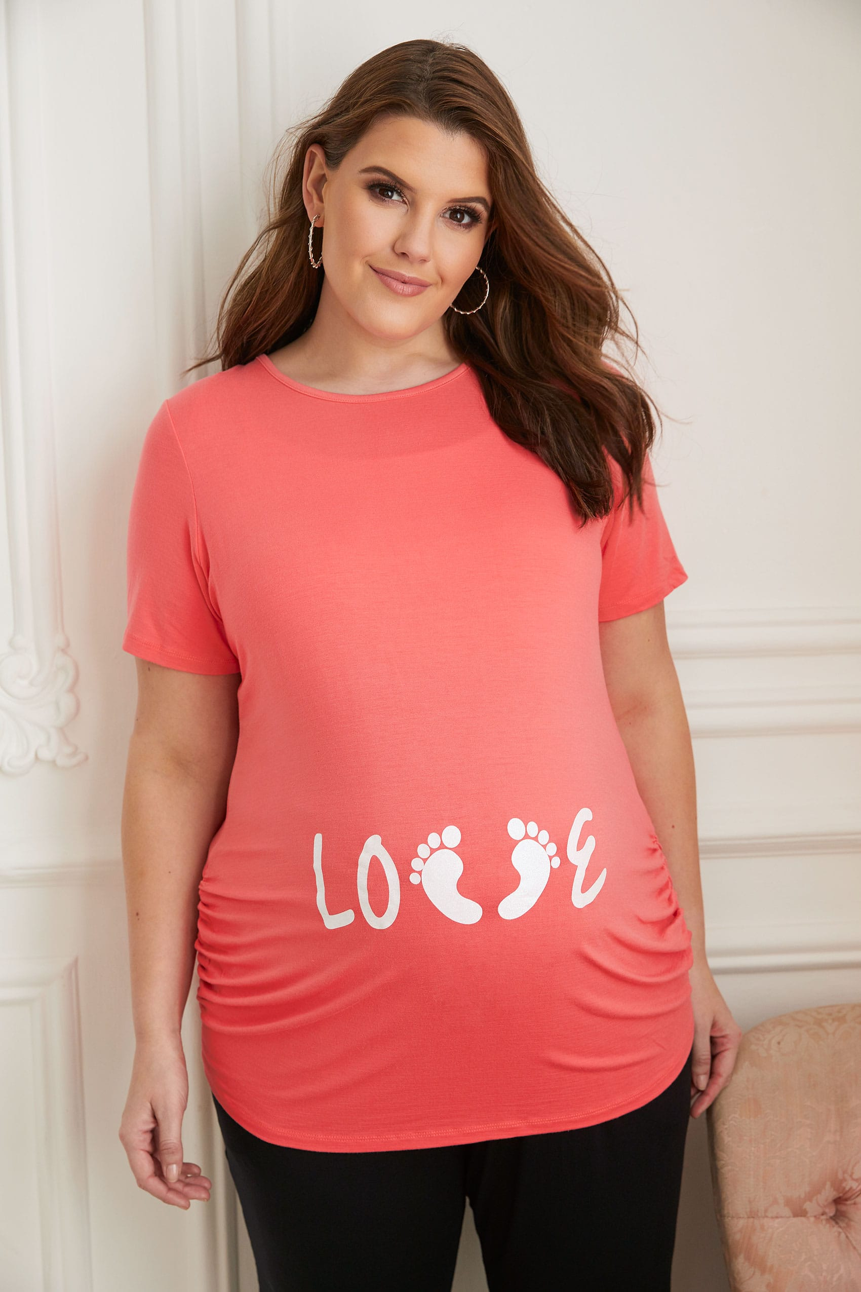 Bump It Up Maternity Coral Glittery Love Top, Plus Size -8459