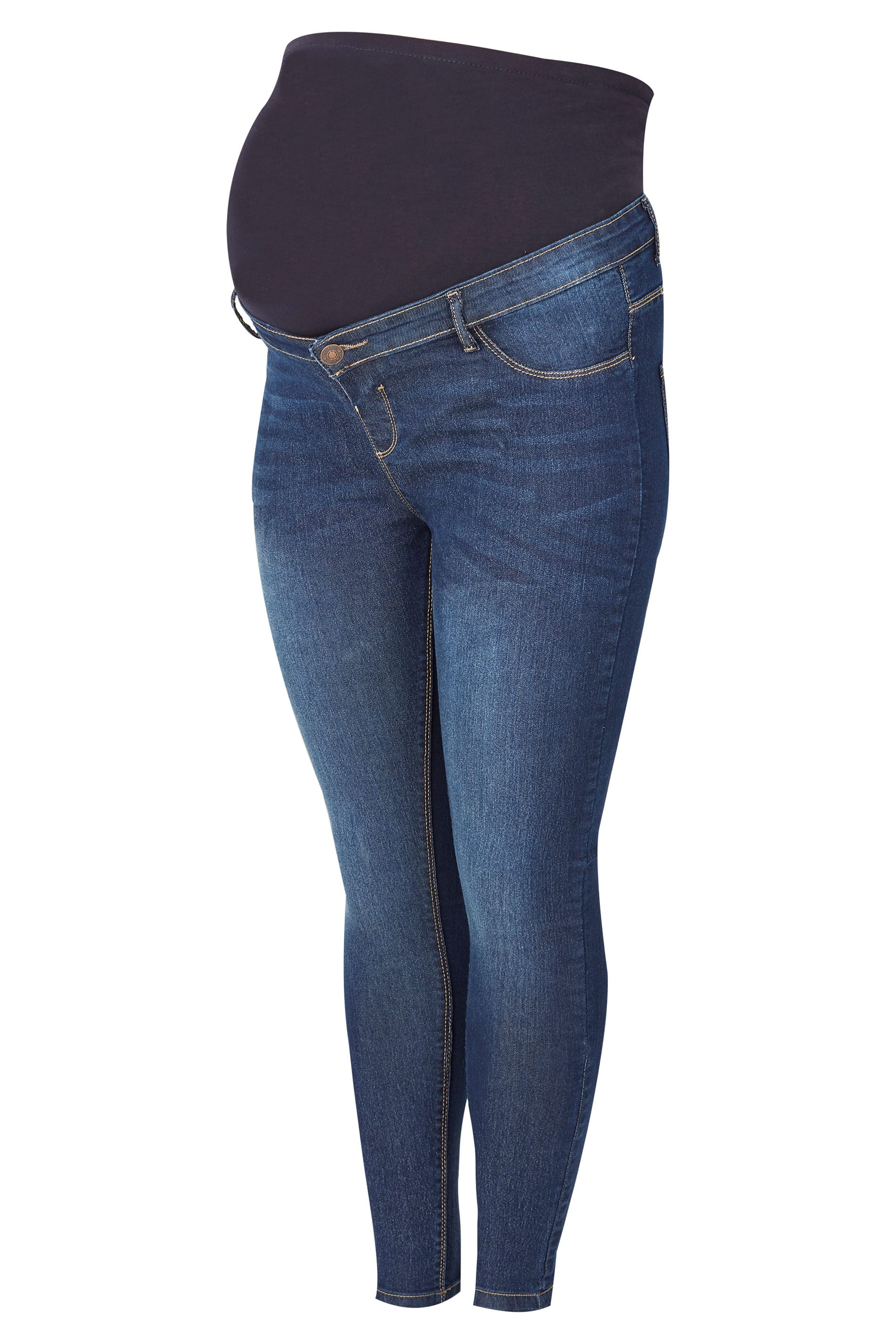 83c7a18567b4c BUMP IT UP MATERNITY Dark Blue Mid Wash Skinny Jeans With Comfort Panel