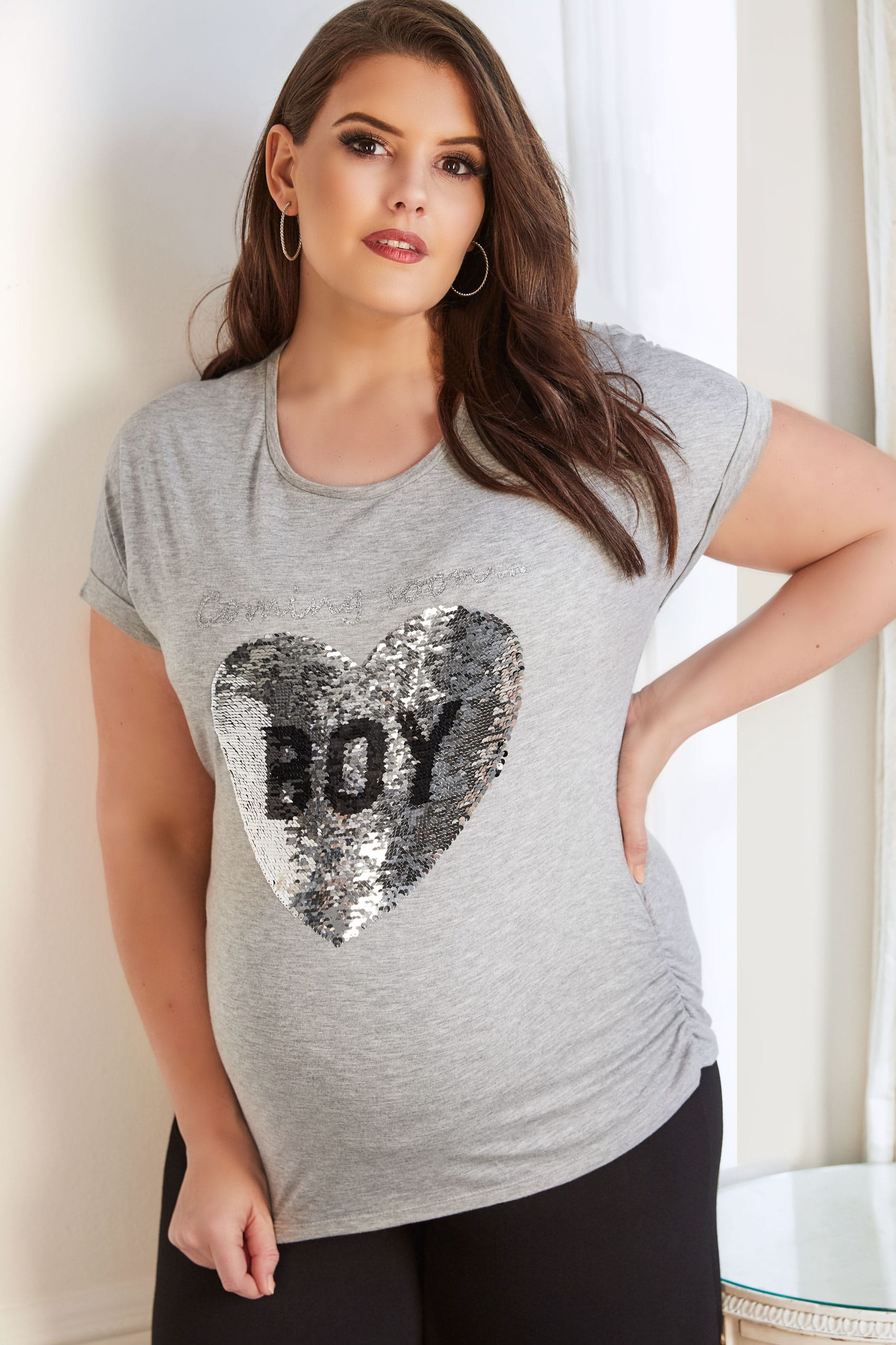 bump it up maternity grau meliertes t shirt mit girl boy. Black Bedroom Furniture Sets. Home Design Ideas