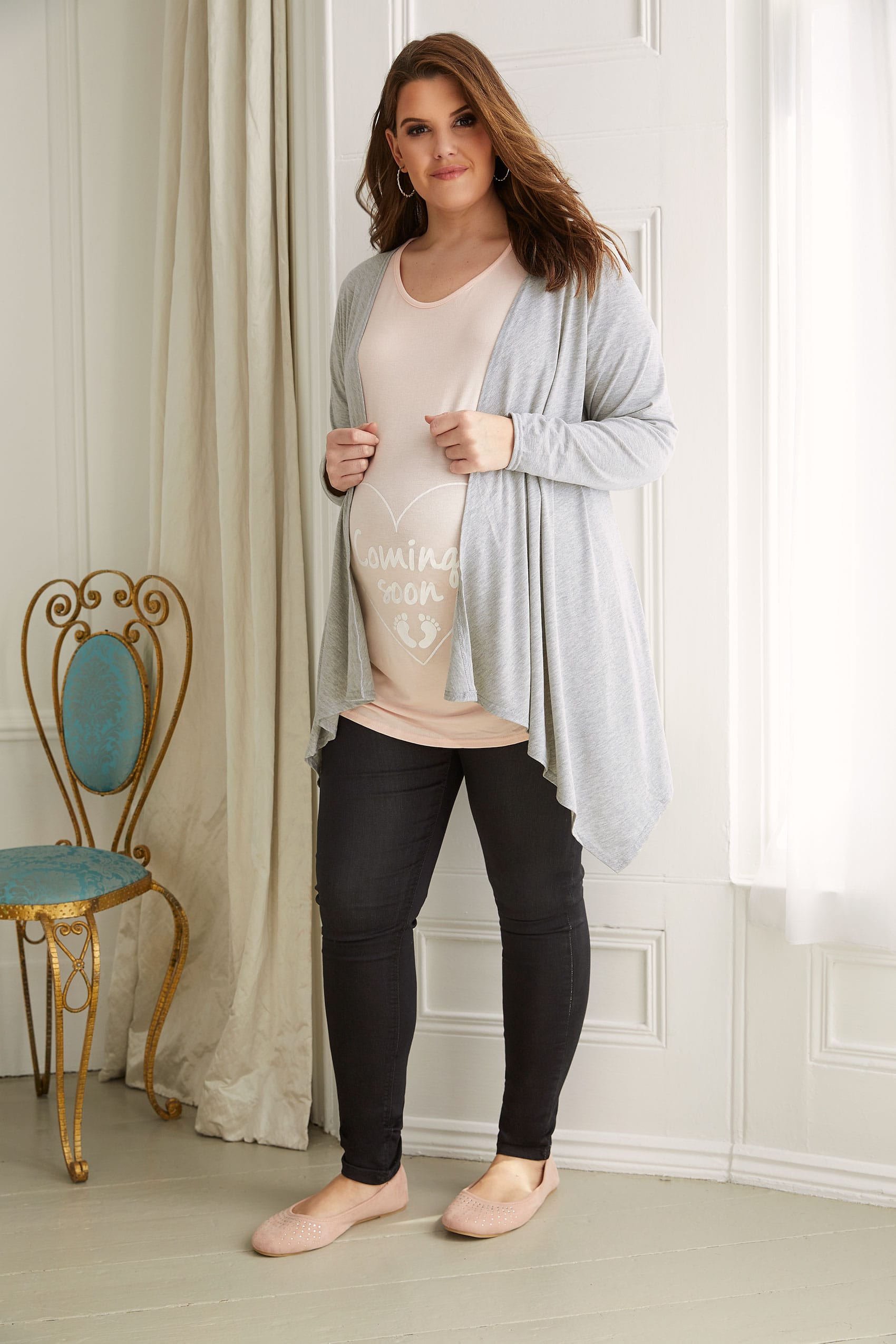 Rooms: BUMP IT UP MATERNITY Grey Waterfall Cardigan Plus Size 16