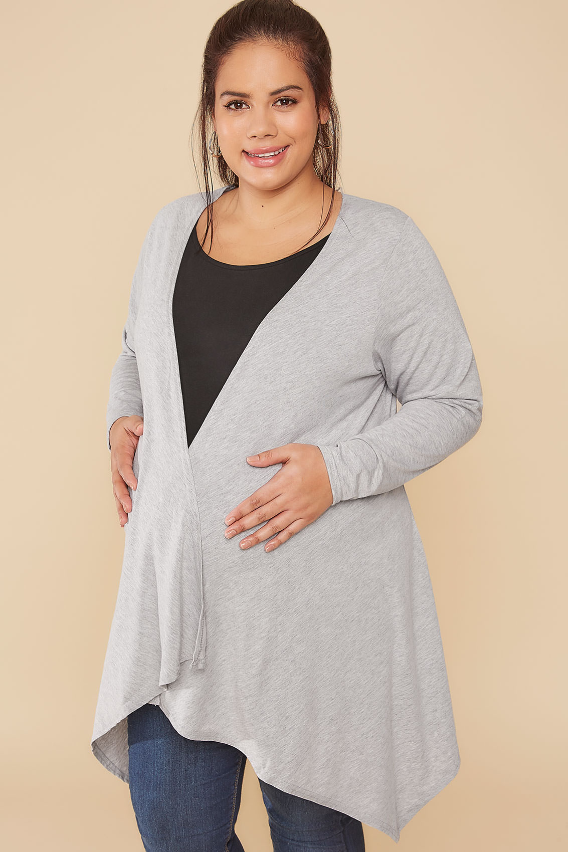 BUMP IT UP MATERNITY Grey Waterfall Cardigan Plus Size 16 to 32