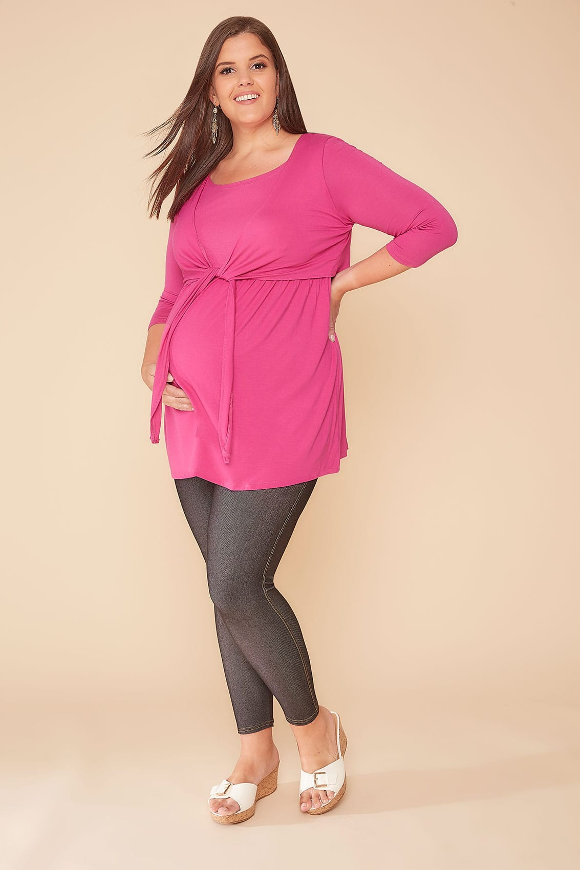 Bump It Up Maternity Hot Pink Overlay Nursing Top, Plus -6624