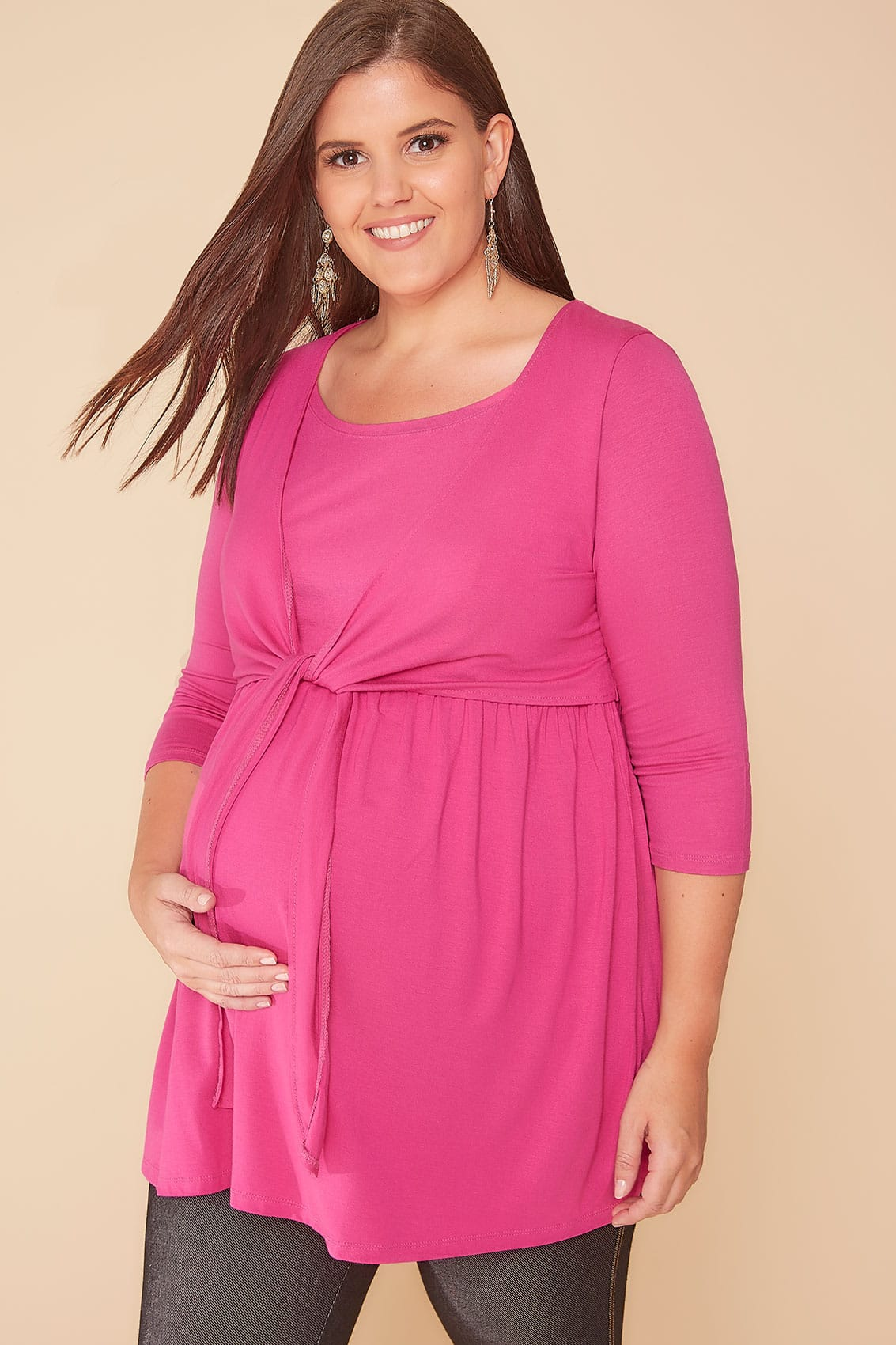 Bump It Up Maternity Hot Pink Overlay Nursing Top, Plus -6863