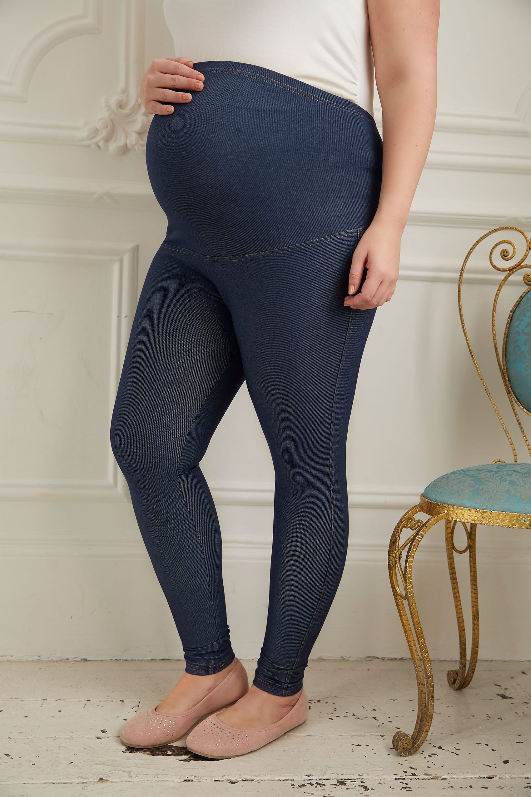 afad17d703ee4 BUMP IT UP MATERNITY Indigo Jeggings With Comfort Panel plus size 16 ...