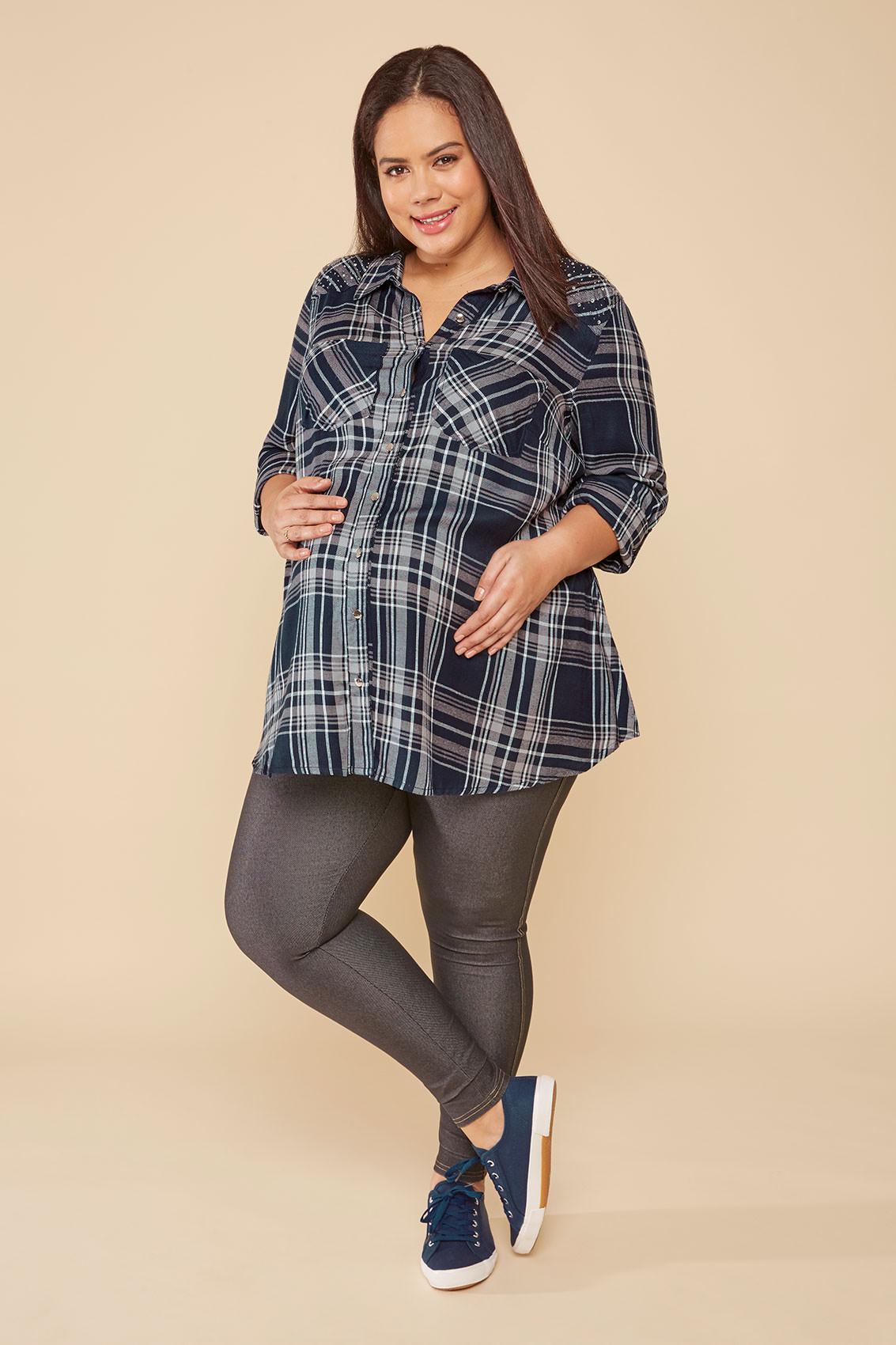 Rooms: BUMP IT UP MATERNITY Navy & Grey Checked Shirt With