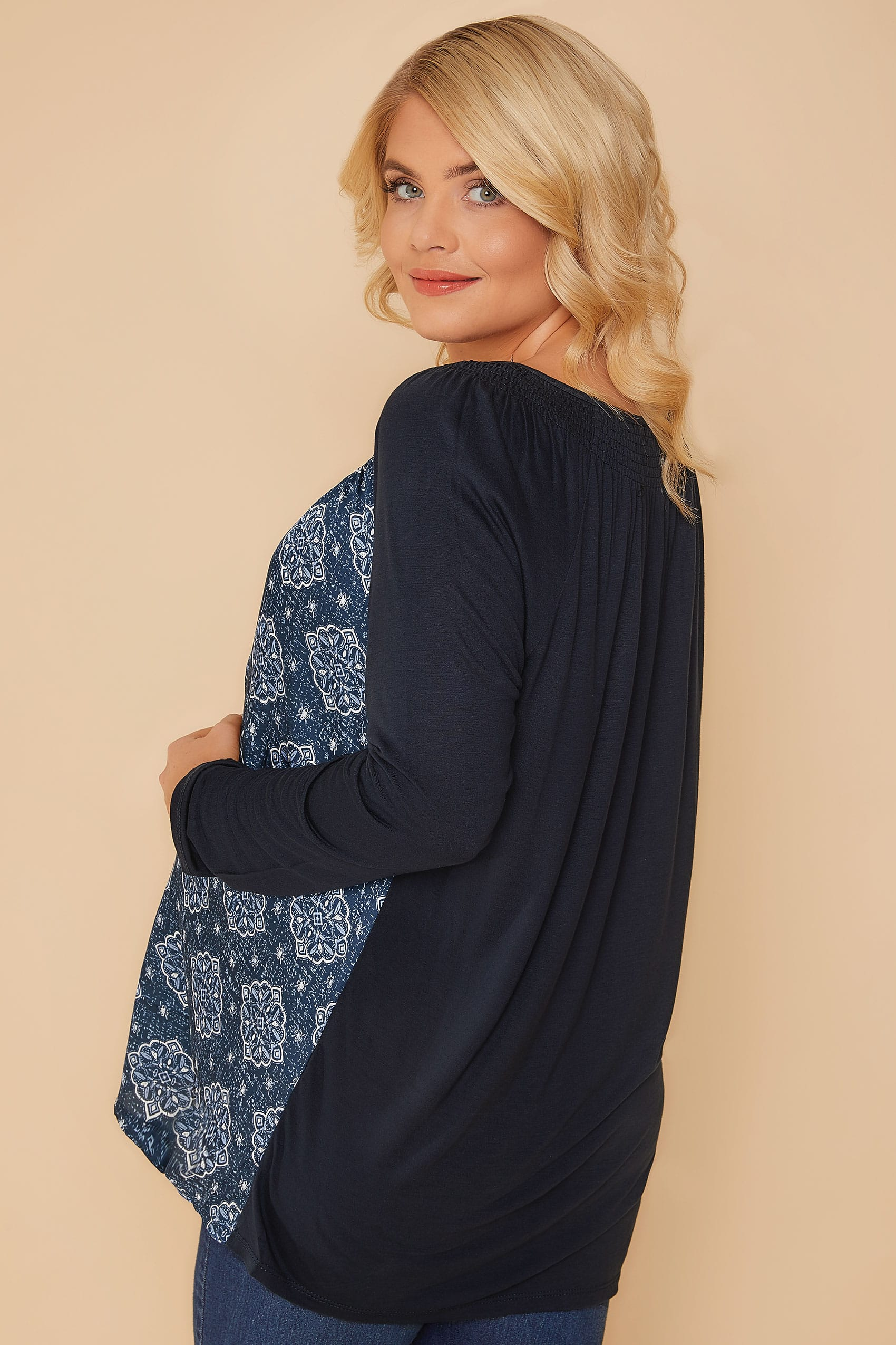 Bump It Up Maternity Navy Mandala Swing Top With Lace Up -8520