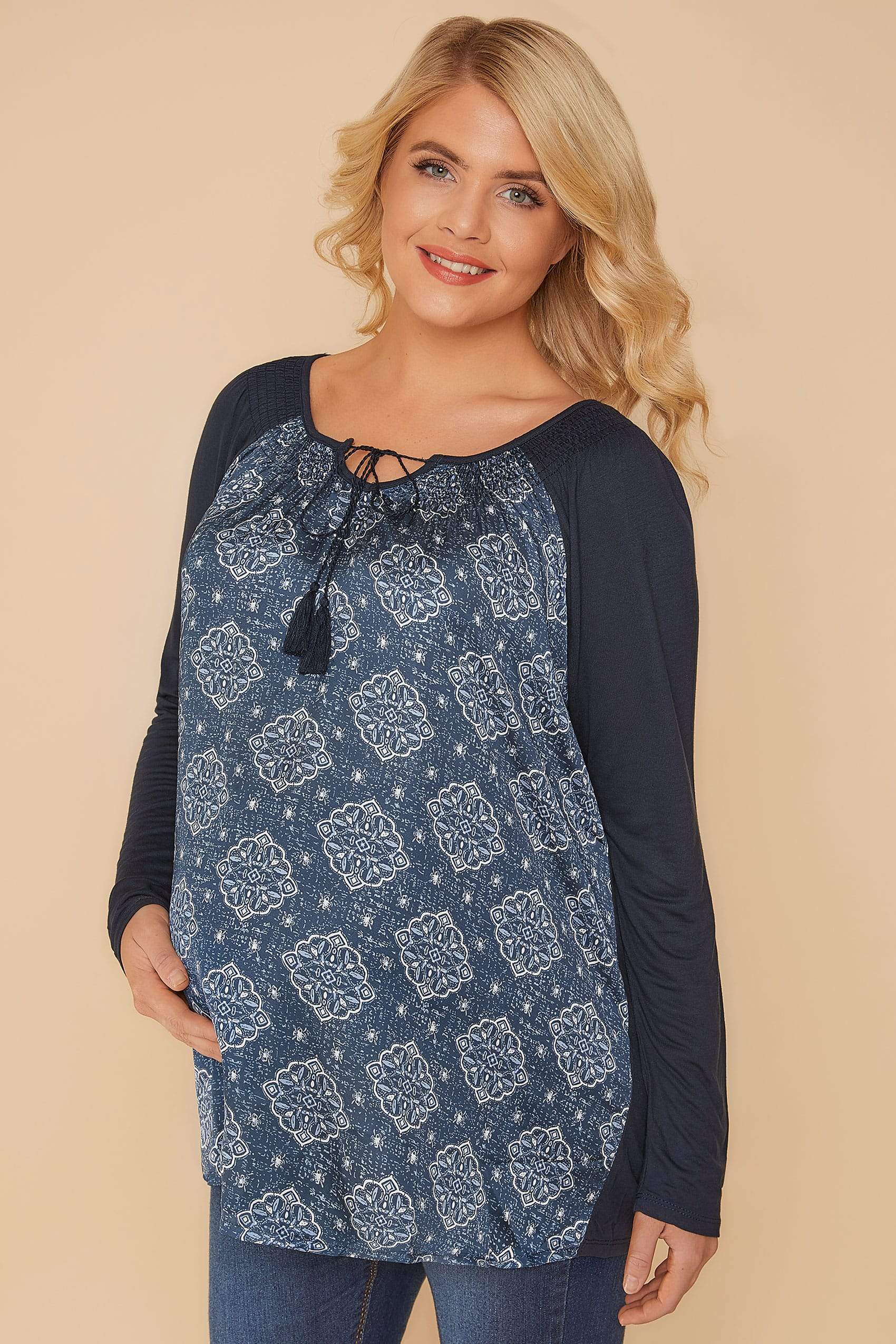 Bump It Up Maternity Navy Mandala Swing Top With Lace Up -7244