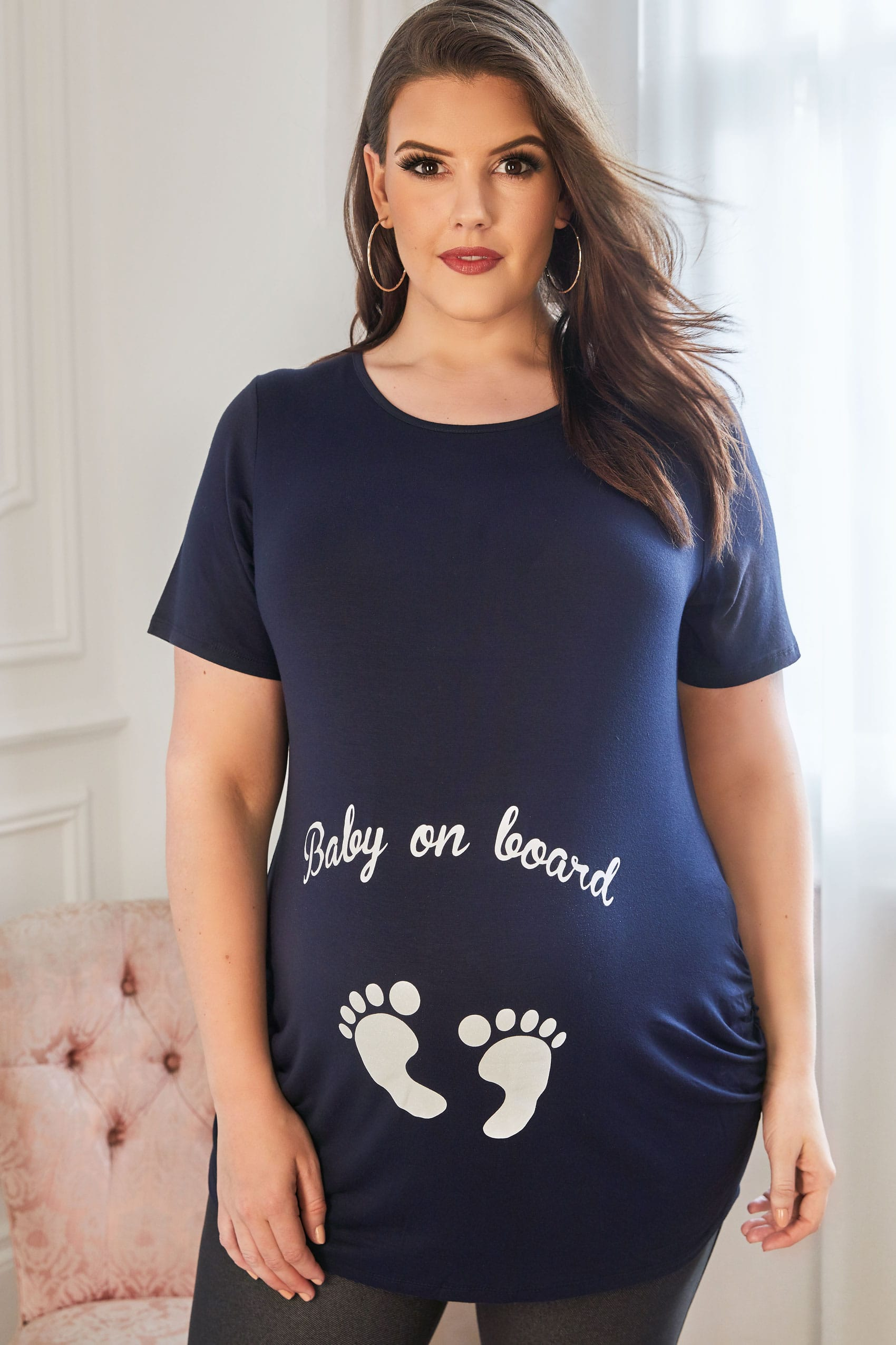 Rooms: BUMP IT UP MATERNITY Navy Glittery 'Baby On Board' Top