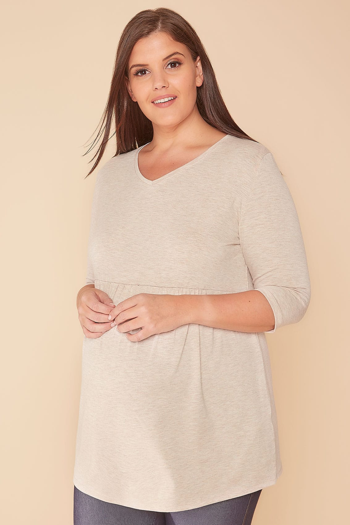 Rooms: BUMP IT UP MATERNITY Oatmeal Ruched Waist Longline Top