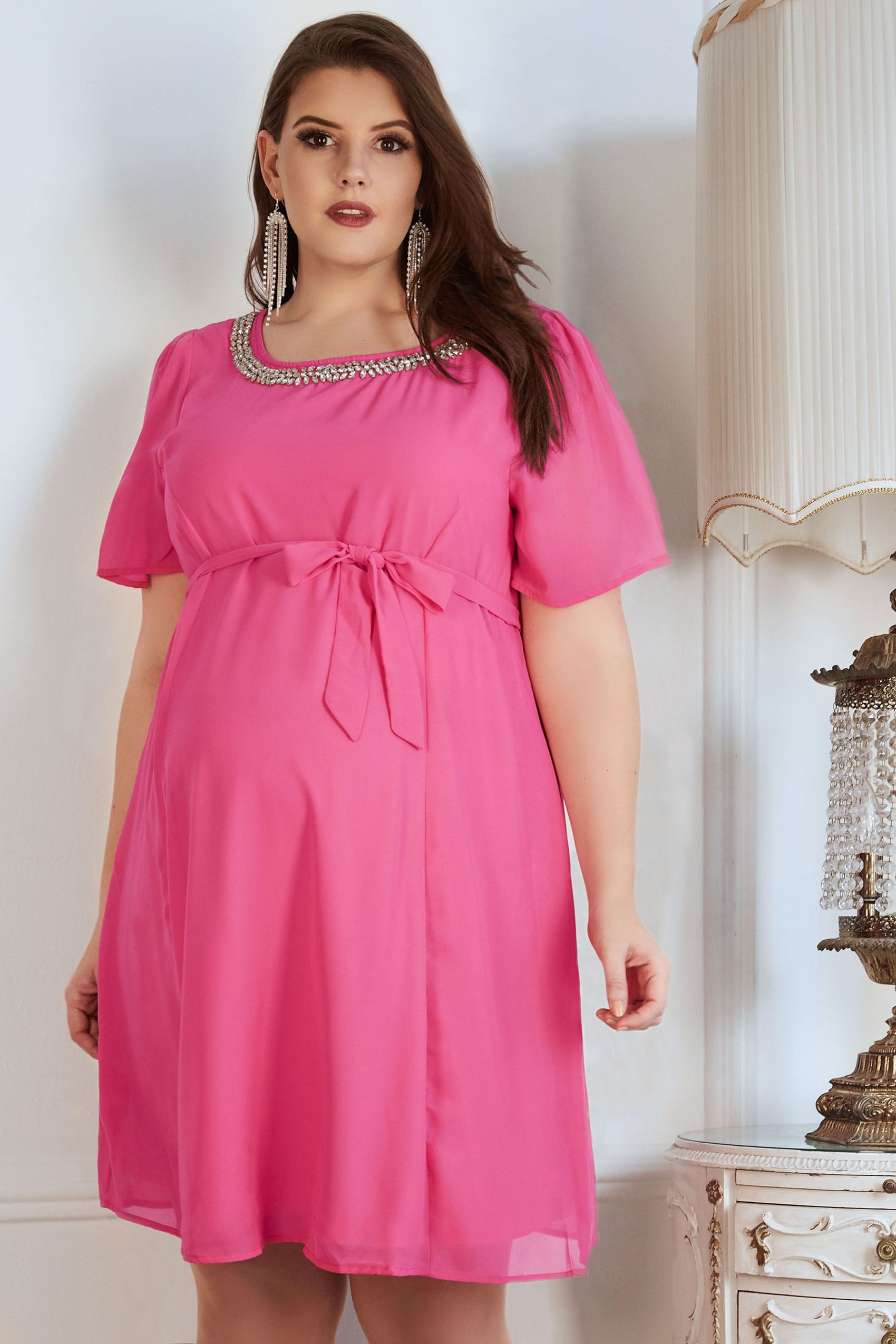 958aab5fd9e BUMP IT UP MATERNITY Pink Chiffon Dress With Jewel Embellished Neckline    Self Tie Waist