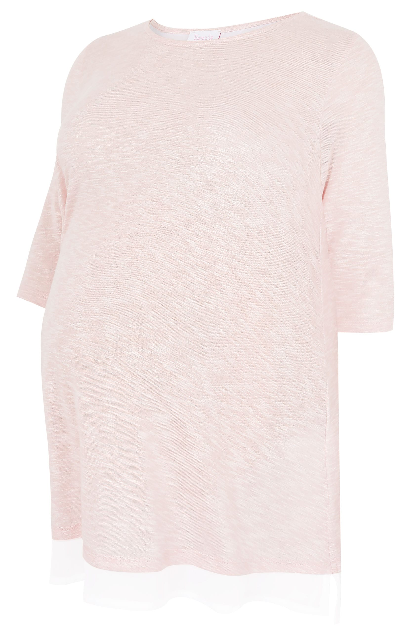 032495061131 BUMP IT UP MATERNITY Pink Fine Knit Top With Chiffon Layer   Split Back