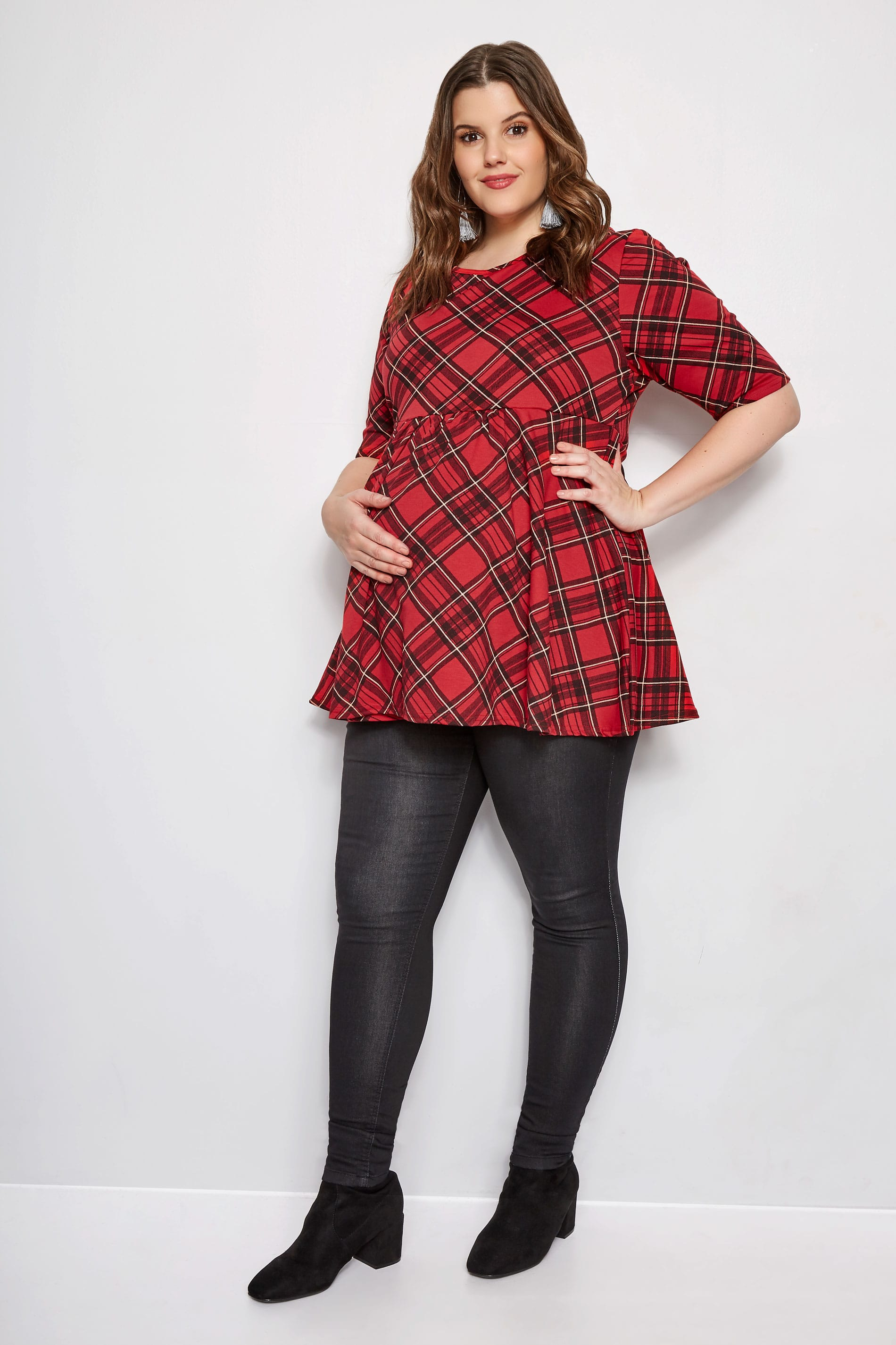 Plus Size Bump It Up Maternity Red Tartan Swing Top -3678