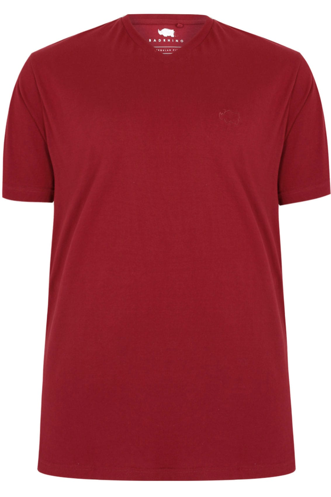 Badrhino berry red v neck basic t shirt tall extra large for Tall v neck t shirts