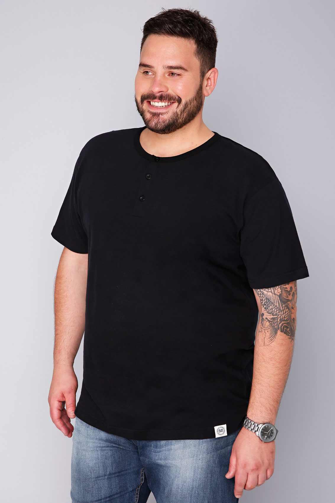 Badrhino black short sleeve grandad t shirt sizes l to 8xl for Short sleeve grandad shirt