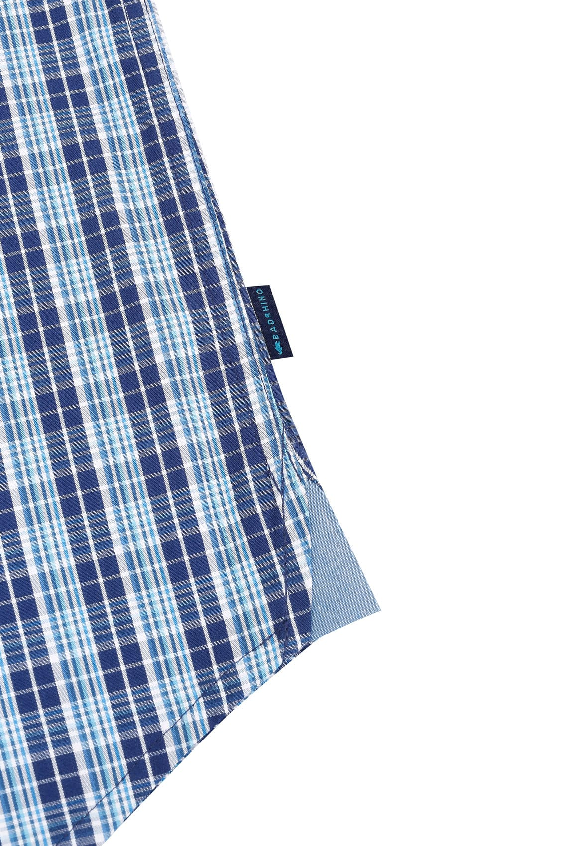 check small. BadRhino Multi Blue \u0026 White Small Grid Check Short Sleeve Shirt 2