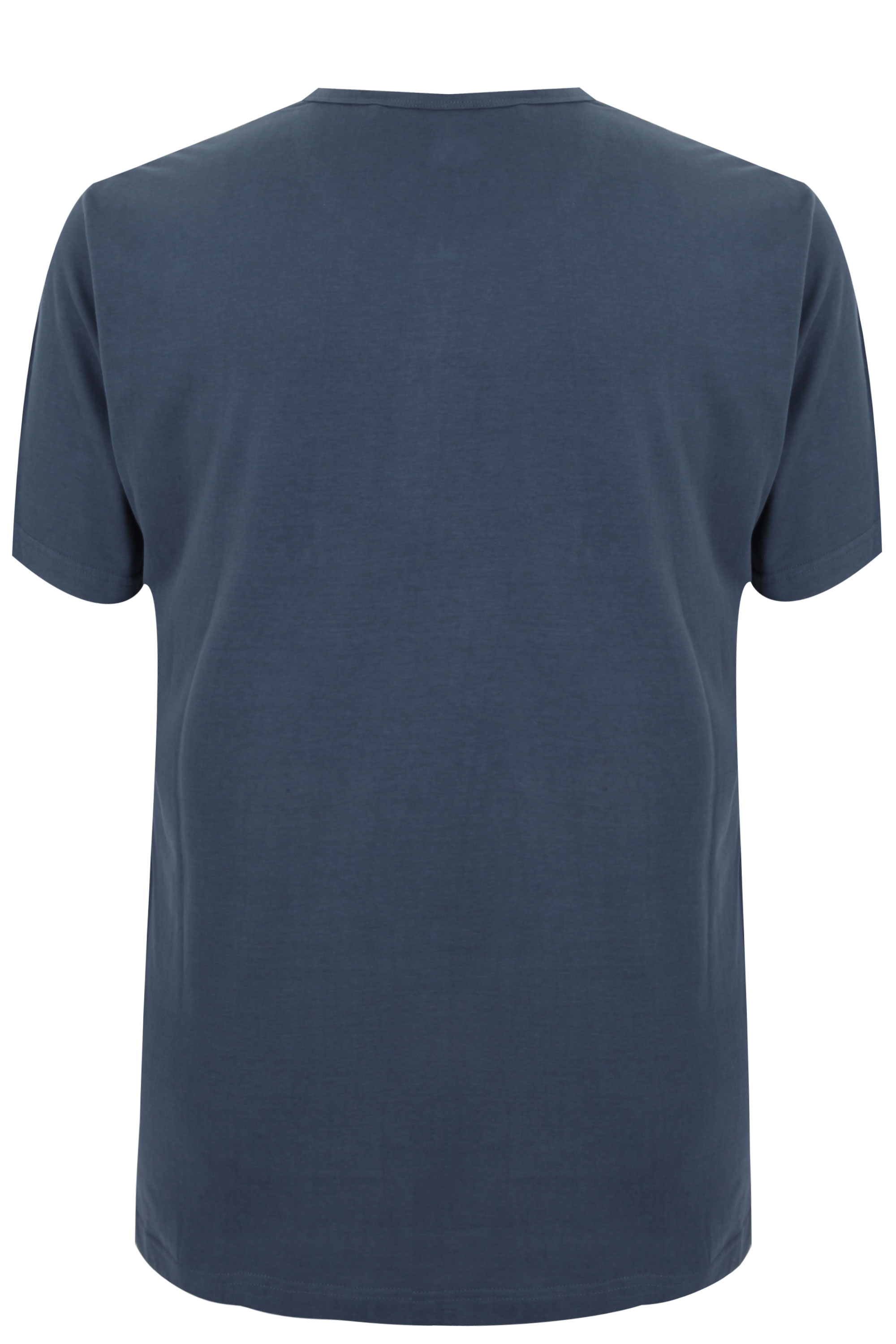 Badrhino denim blue short sleeve grandad t shirt sizes l for Short sleeve grandad shirt