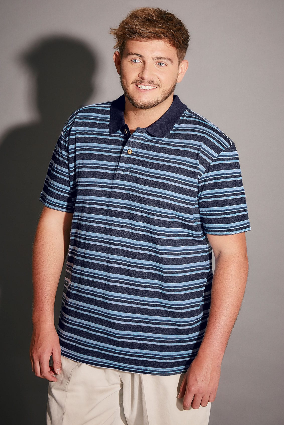 Badrhino light blue navy striped polo shirt extra large for Blue striped shirt mens