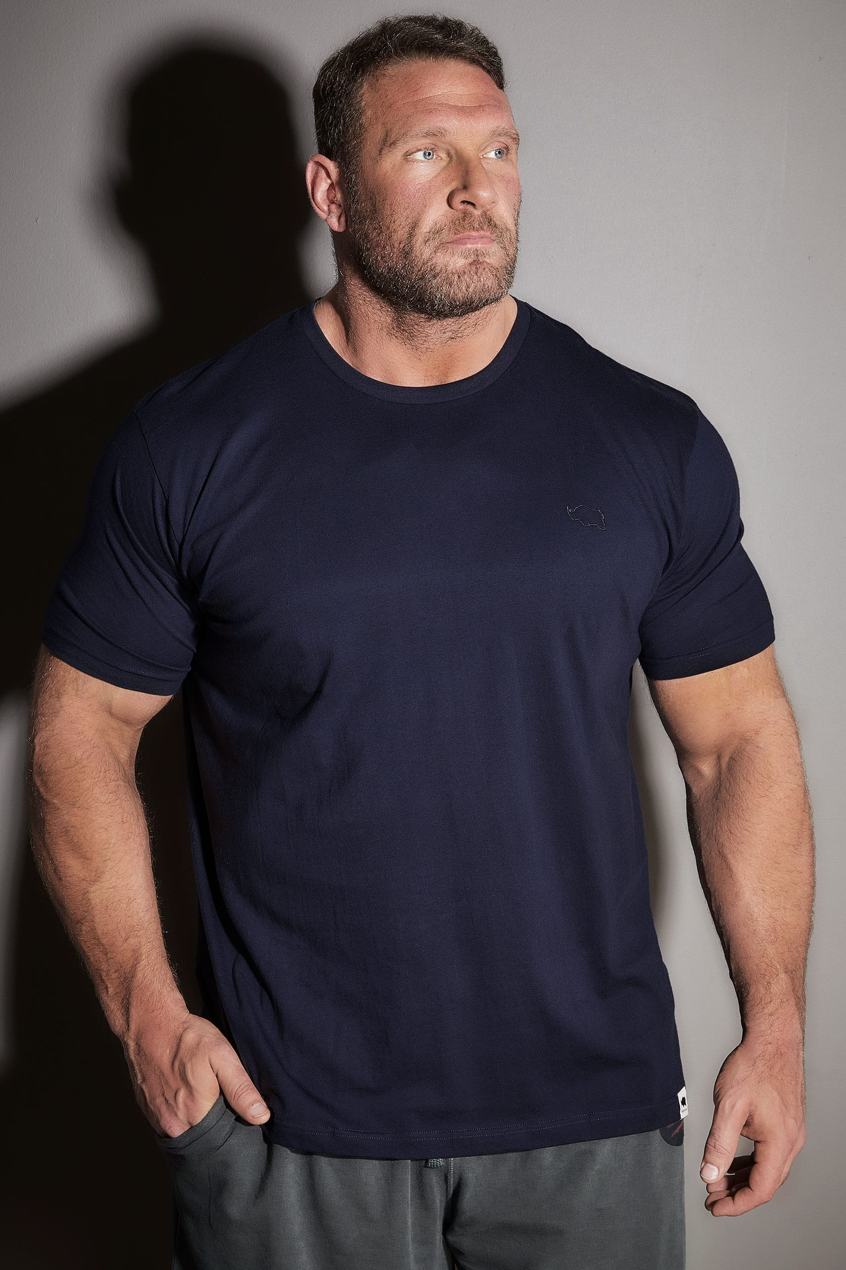 63296bffbde9 BadRhino Navy Basic Plain Crew Neck T-Shirt Extra large sizes M
