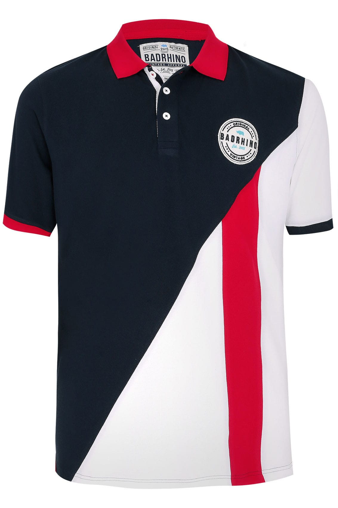 Badrhino Navy Red White Colourblock Polo Shirt With