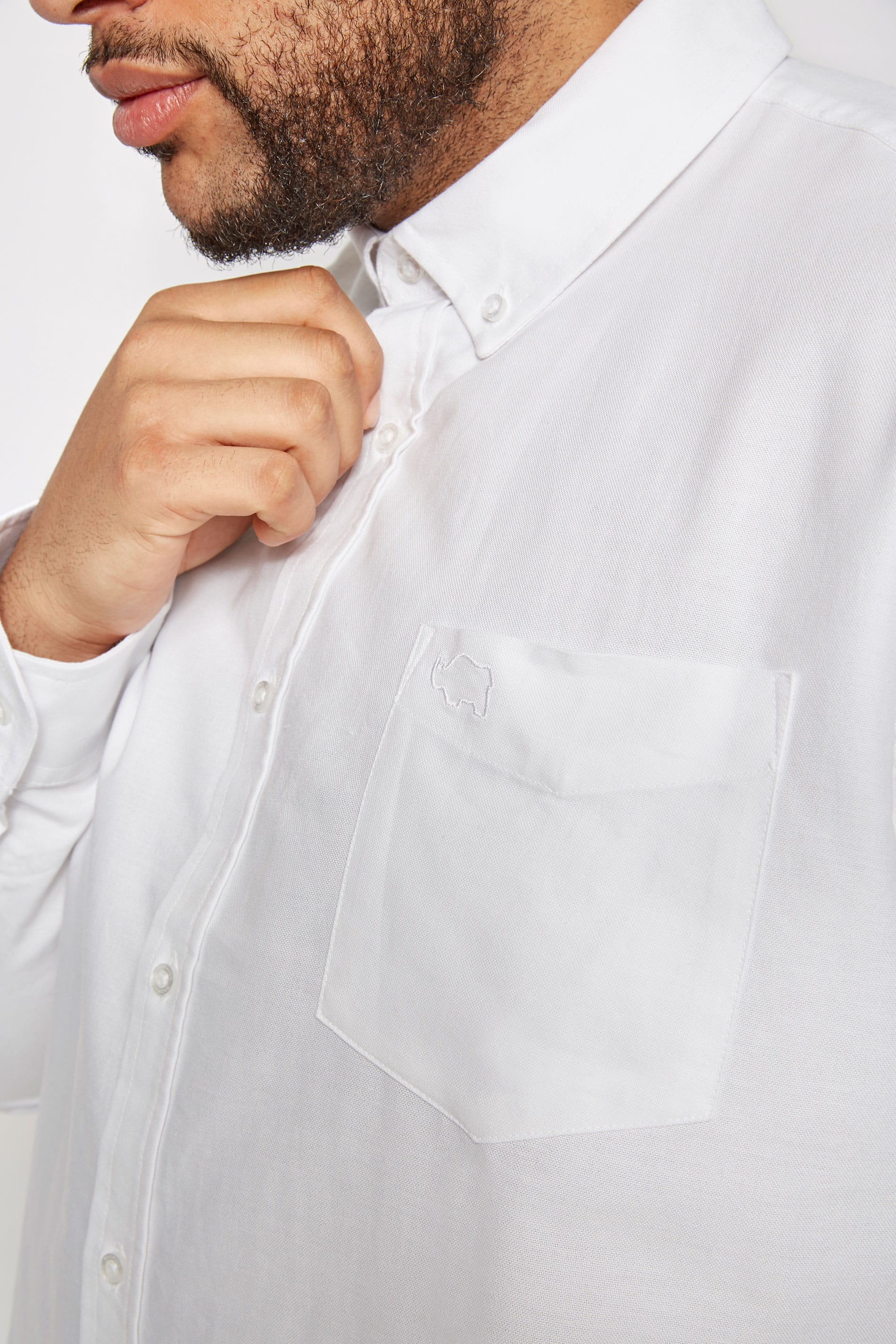 b1799de5719561 BadRhino White Cotton Long Sleeved Oxford Shirt Extra large sizes L ...