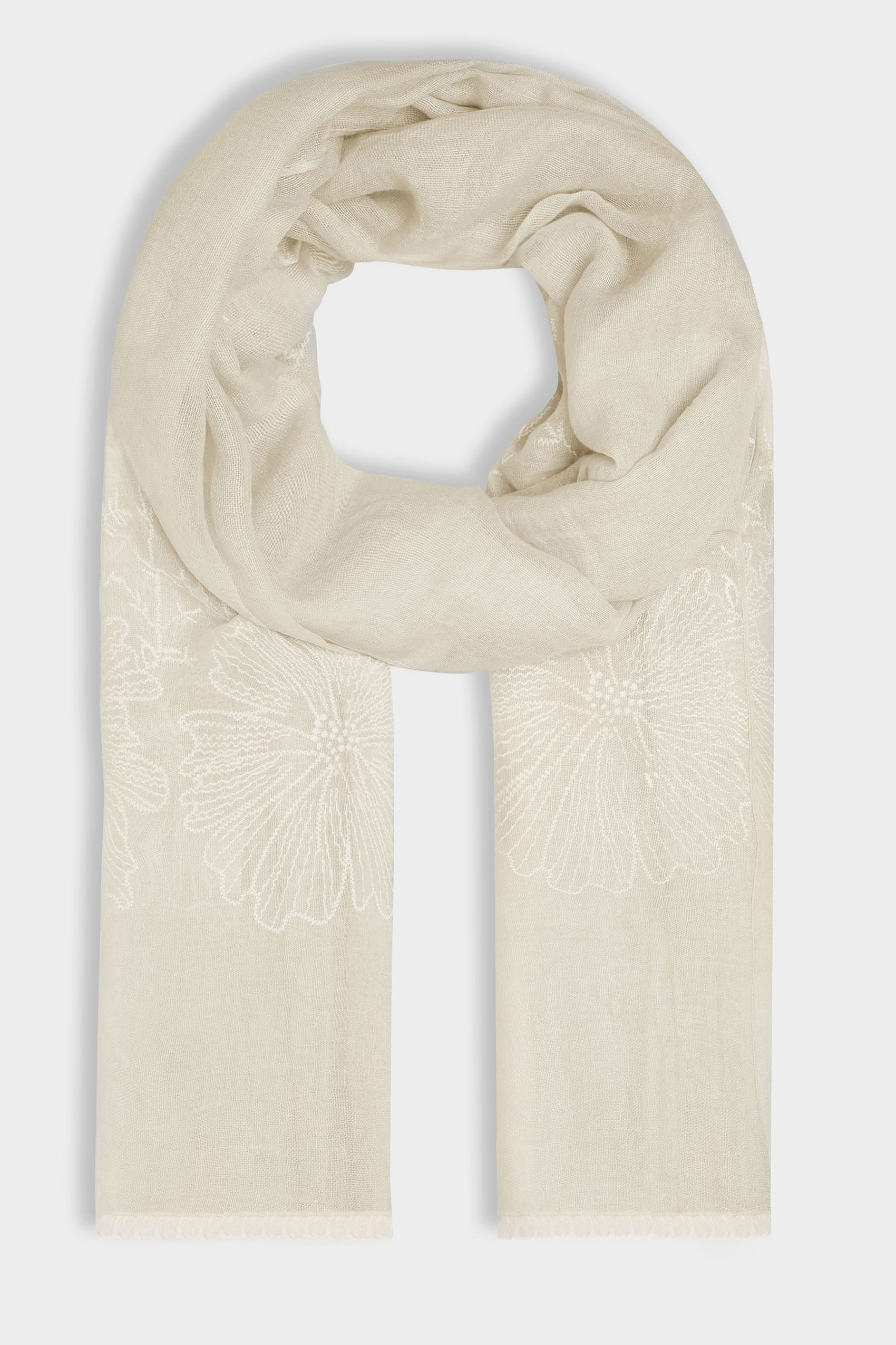 Beige floral embroidered scarf for Buy here pay later