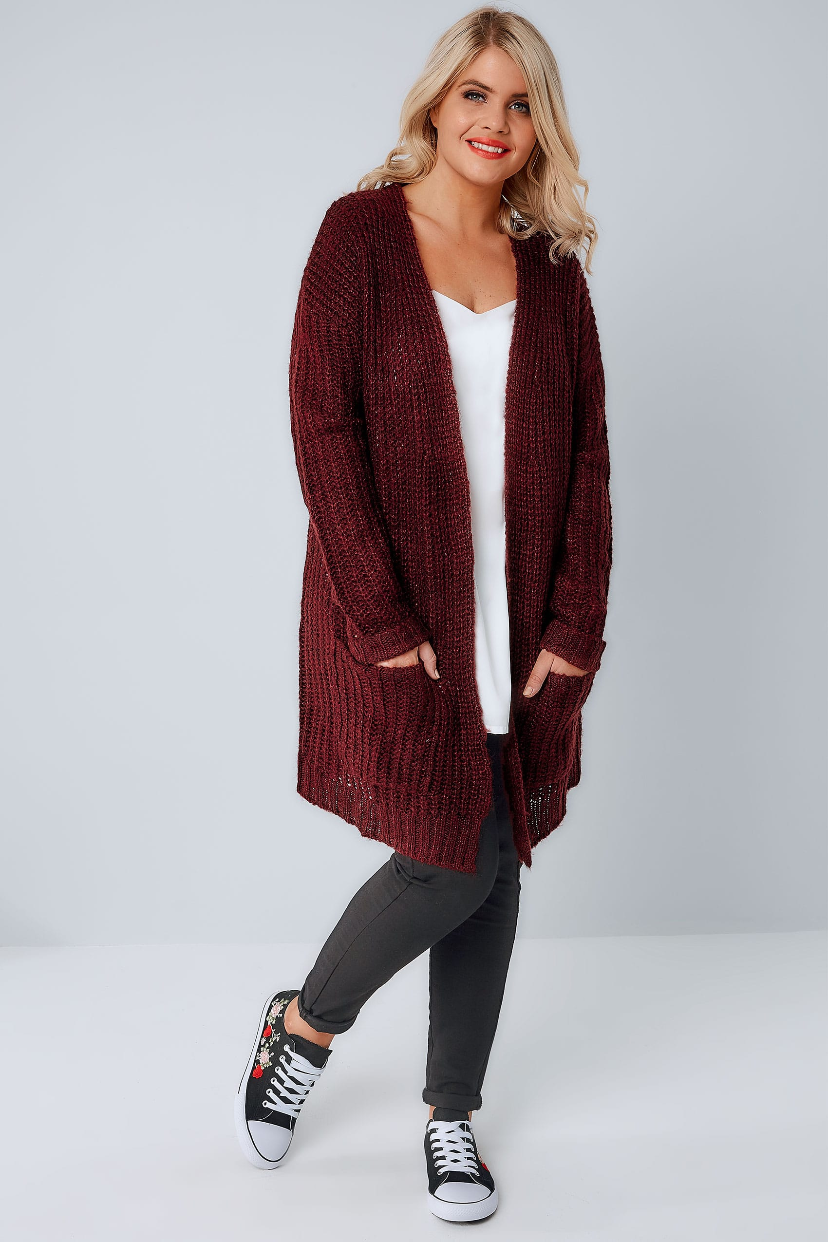 Berry Longline Chunky Knit Cardigan With Pockets, Plus size 16 to 36