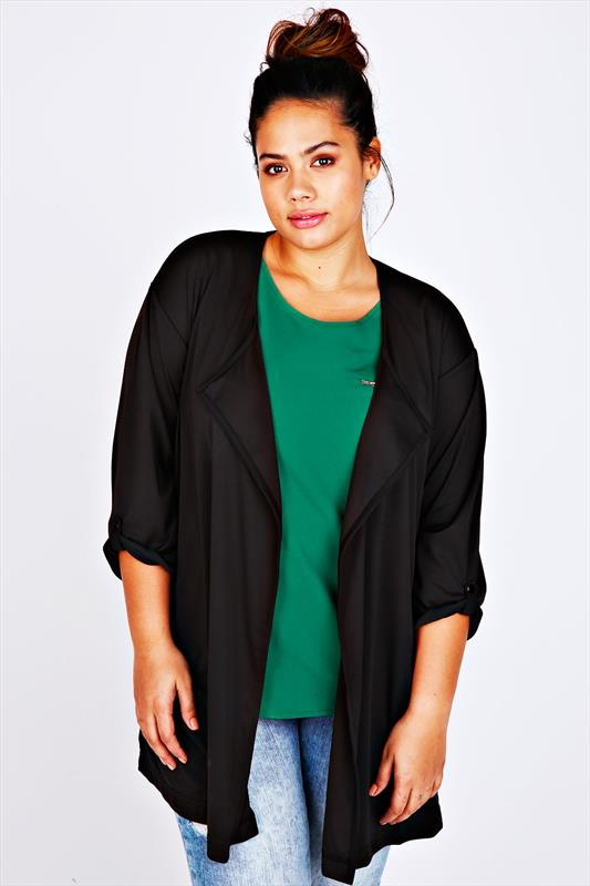 Black Longline Waterfall Jersey Jacket With Waist Tie