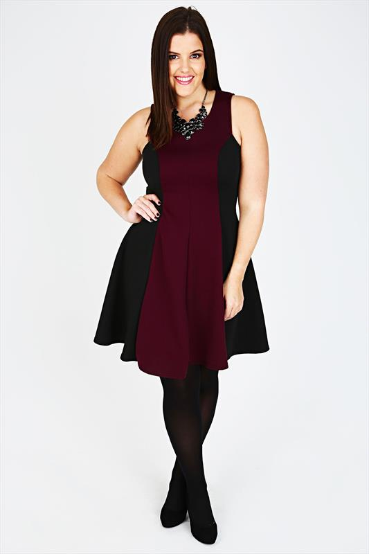 Wine & Black Colour Block Sleeveless Skater Dress