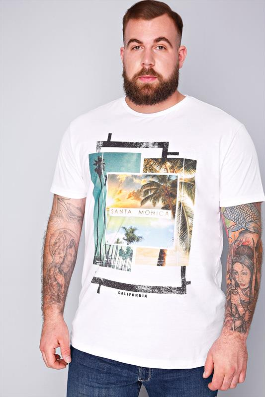 "BadRhino White ""Santa Monica"" Printed V Neck T-Shirt-TALL"