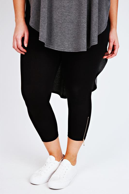 Black Cotton Elastane Cropped Legging With Zip Detail