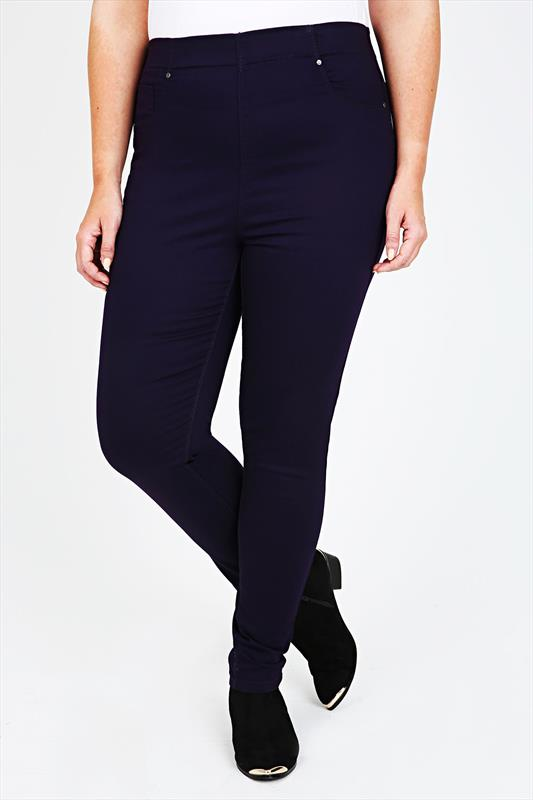 Dark Purple Denim Jeggings With Elasticated Waist