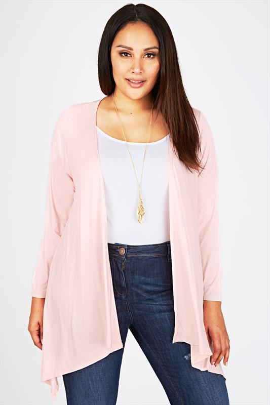 Pale Pink Edge To Edge Waterfall Jersey Cardigan
