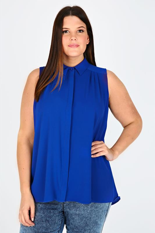 Cobalt Sleeveless Crepe Button-Up Shirt With Pleating Detail