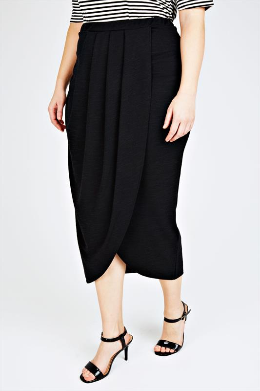 Plus Size Maxi Skirts Black Textured Wrap Front Maxi Skirt With Pleat Detail