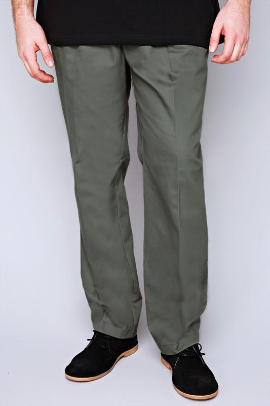 Khaki Stretch Waist Chino Trousers With Pleats